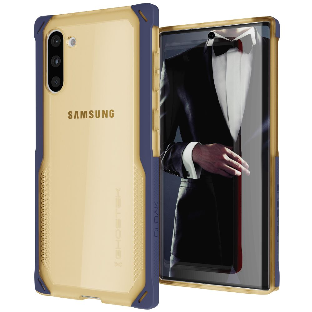 CLOAK 4 for Galaxy Note 10+ Plus Shockproof Hybrid Case [Blue-Gold]