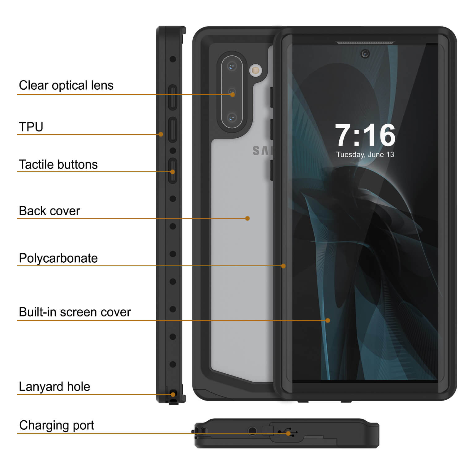 Galaxy Note 10 Waterproof Case, Punkcase Studstar Clear Thin Armor Cover