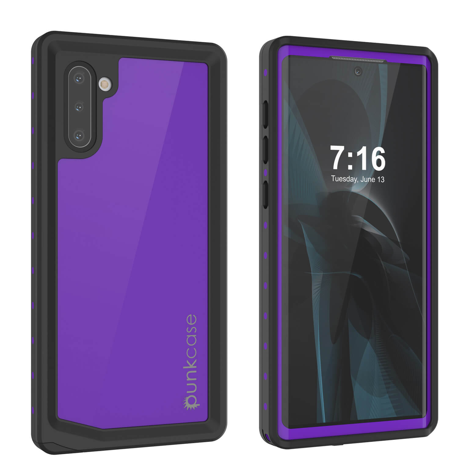 Galaxy Note 10 Waterproof Case, Punkcase Studstar Purple Series Thin Armor Cover