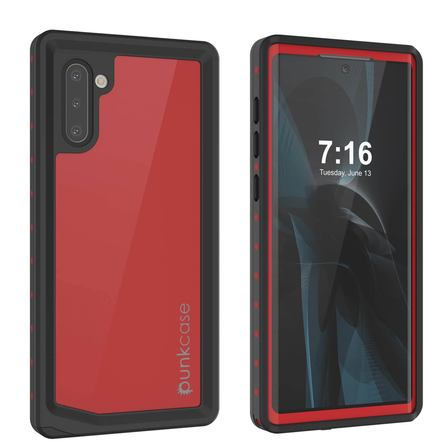 Galaxy Note 10 Waterproof Case, Punkcase Studstar Red Series Thin Armor Cover