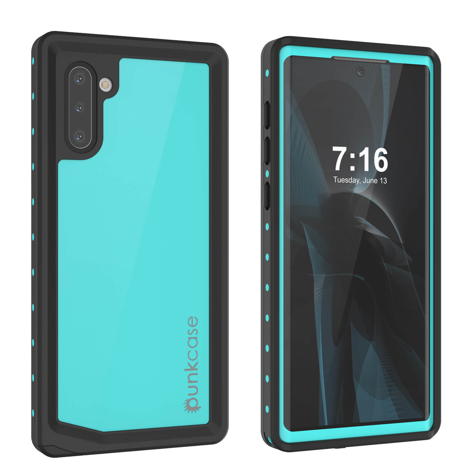 Galaxy Note 10 Waterproof Case, Punkcase Studstar Series Teal Thin Armor Cover