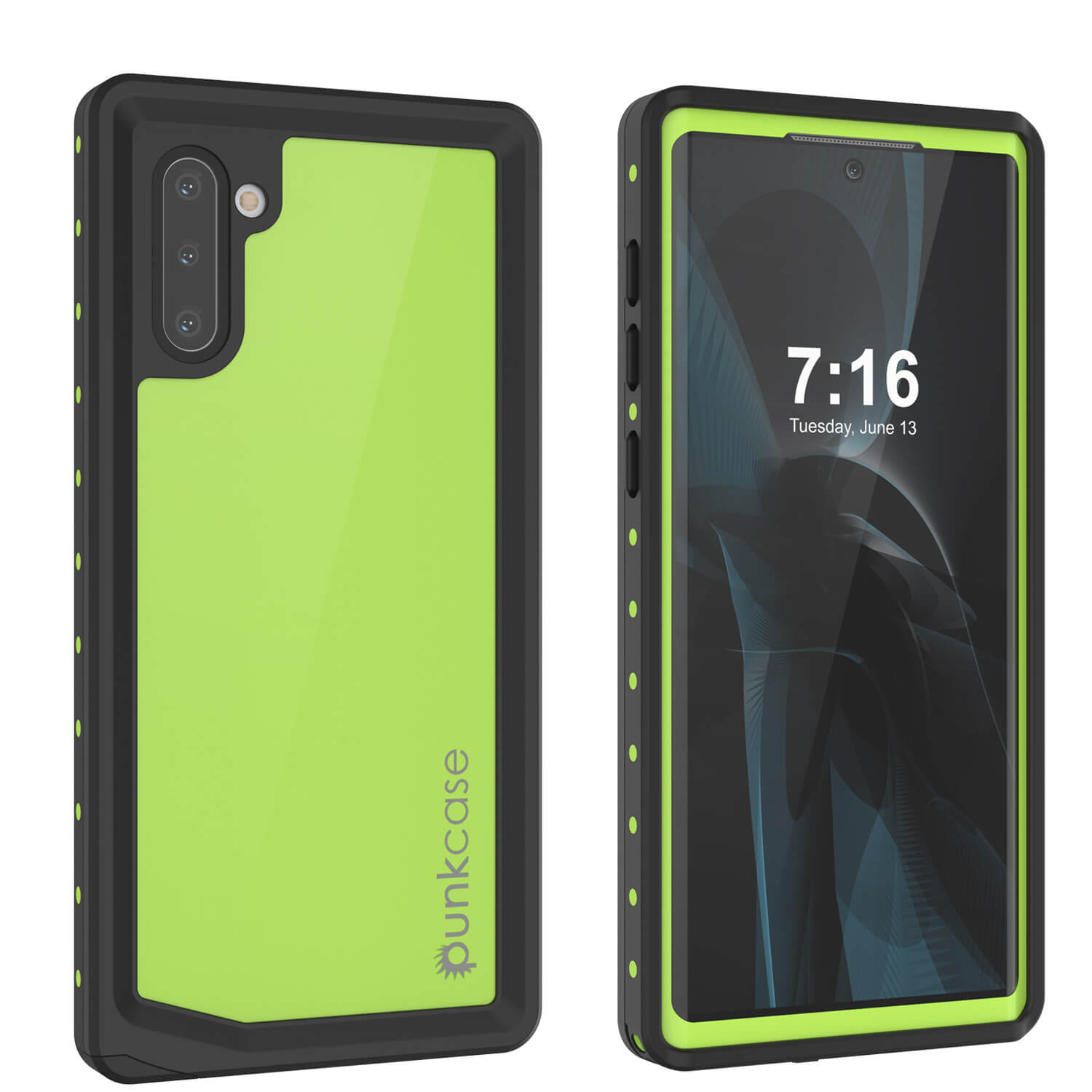 Galaxy Note 10 Waterproof Case, Punkcase Studstar Light Green Thin Armor Cover