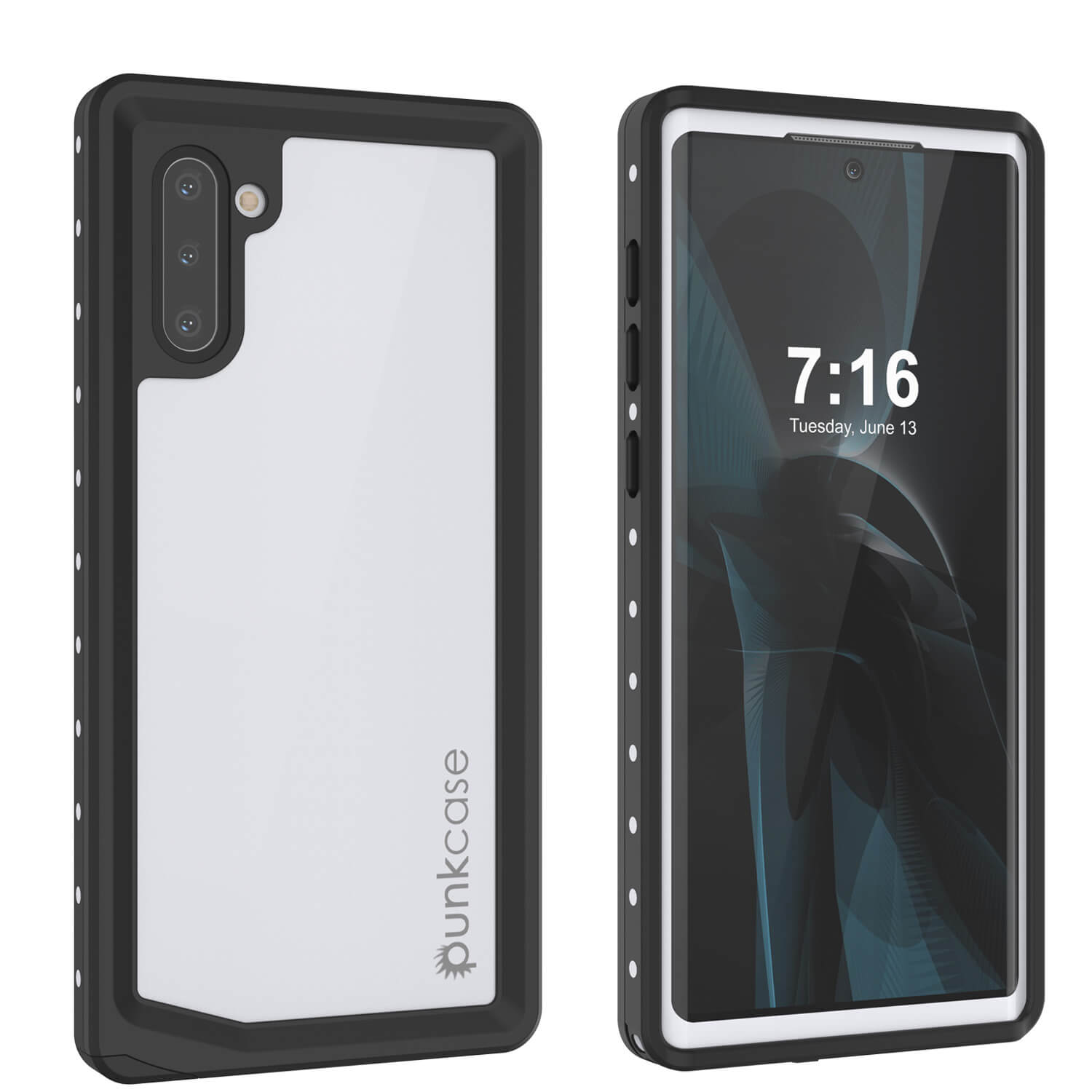 Galaxy Note 10 Waterproof Case, Punkcase Studstar White Thin Armor Cover