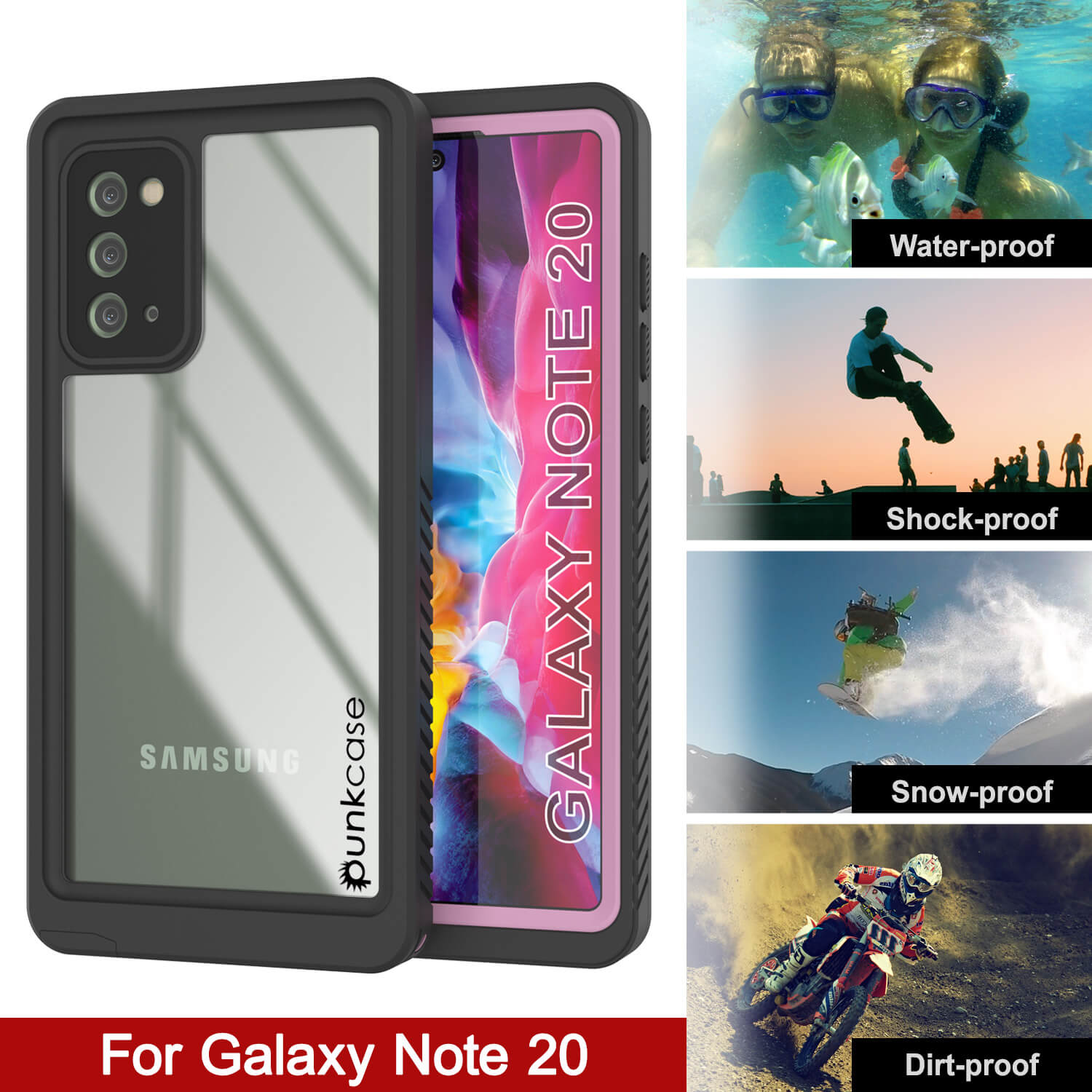 Galaxy Note 20 Case, Punkcase [Extreme Series] Armor Cover W/ Built In Screen Protector [Pink]