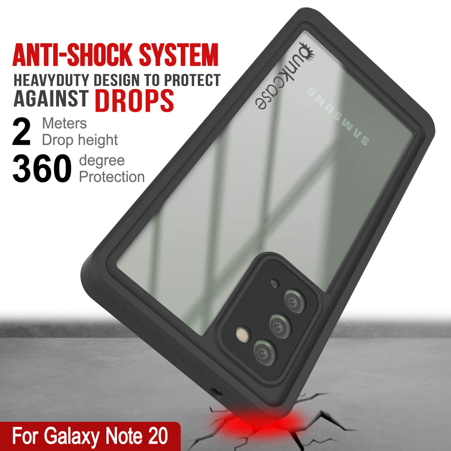 Galaxy Note 20 Case, Punkcase [Extreme Series] Armor Cover W/ Built In Screen Protector [Red]