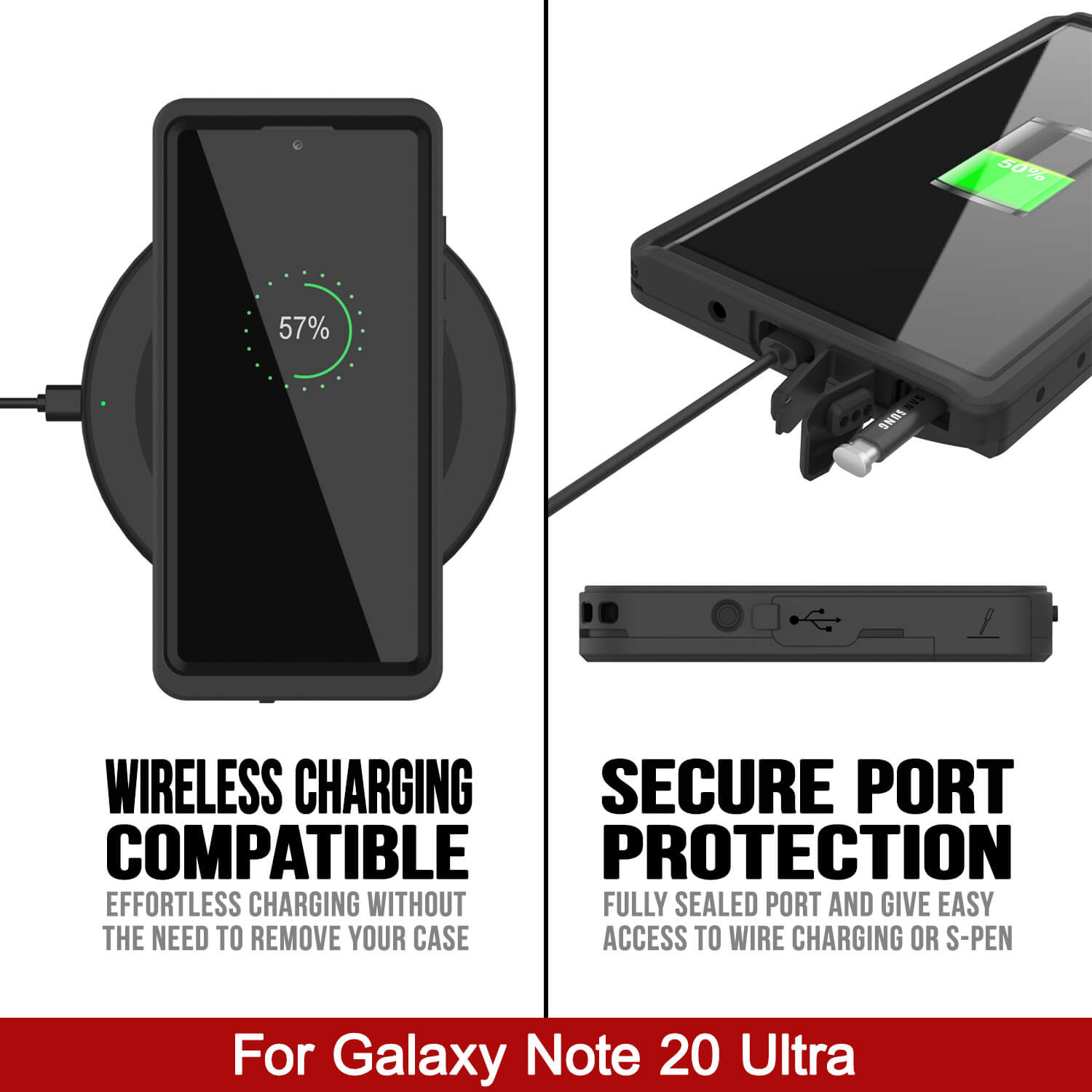 Galaxy Note 20 Case, Punkcase [Extreme Series] Armor Cover W/ Built In Screen Protector [Black]