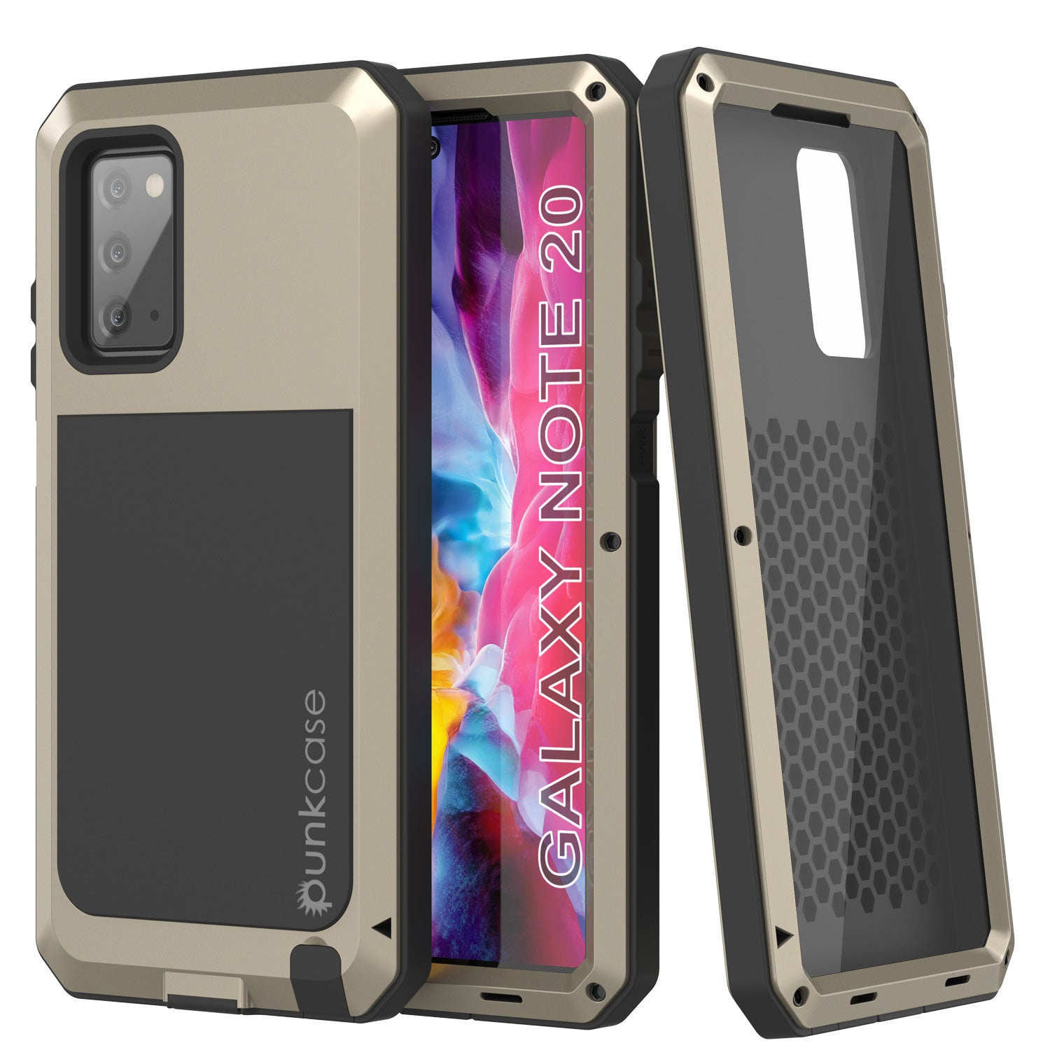Galaxy Note 20  Case, PUNKcase Metallic Gold Shockproof  Slim Metal Armor Case [Gold]
