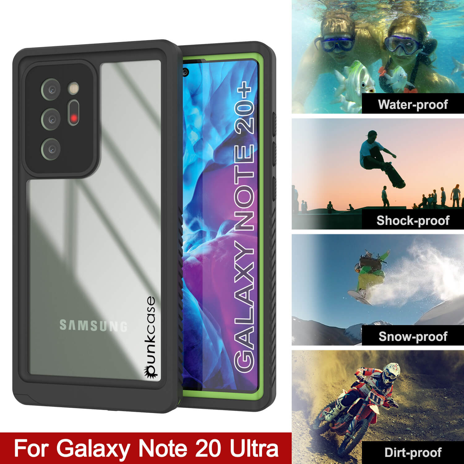 Galaxy Note 20 Ultra Case, Punkcase [Extreme Series] Armor Cover W/ Built In Screen Protector [Light Green]