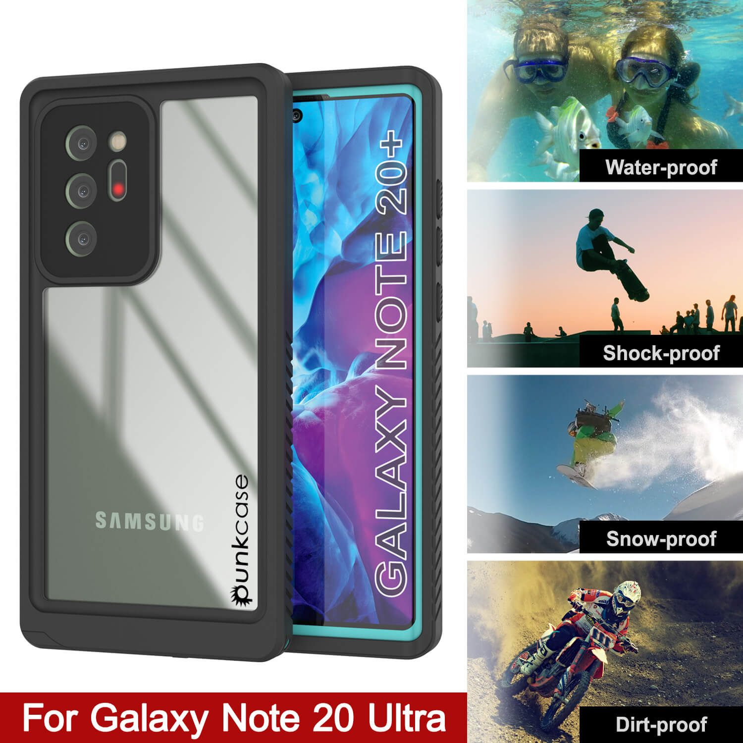 Galaxy Note 20 Ultra Case, Punkcase [Extreme Series] Armor Cover W/ Built In Screen Protector [Teal]