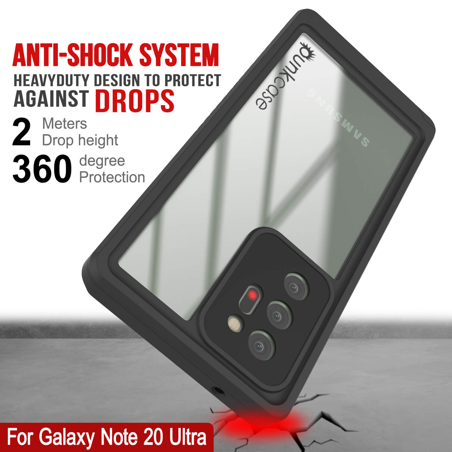 Galaxy Note 20 Ultra Case, Punkcase [Extreme Series] Armor Cover W/ Built In Screen Protector [Red]