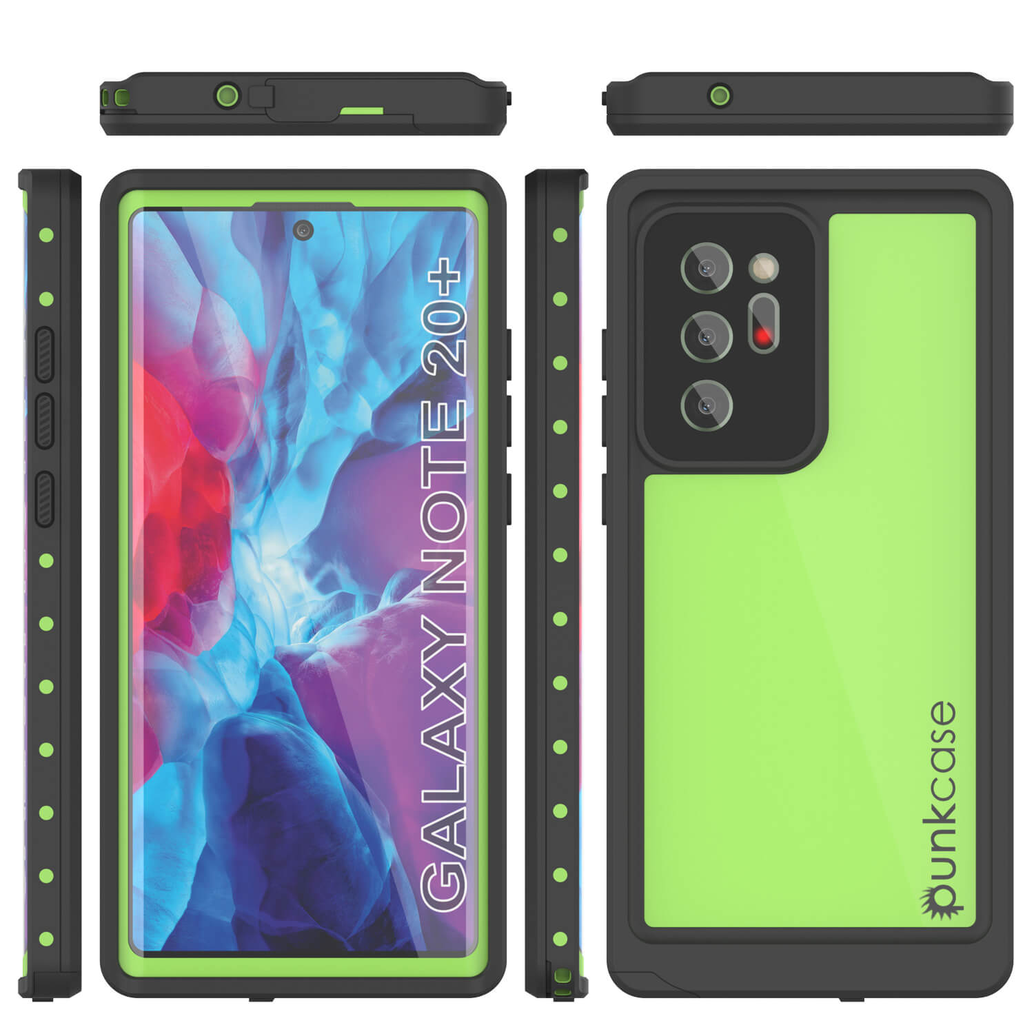 Galaxy Note 20 Ultra Waterproof Case, Punkcase Studstar Light Green Thin Armor Cover