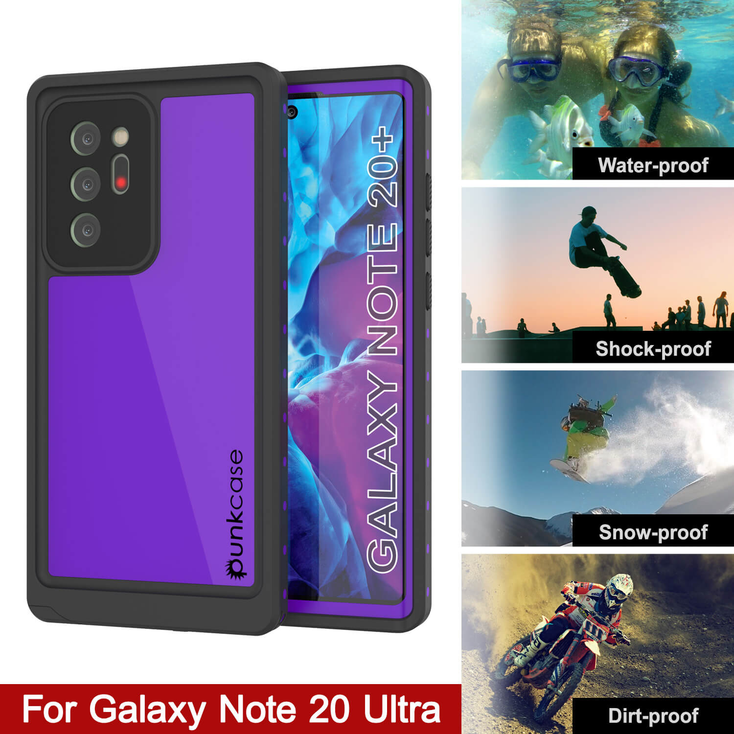 Galaxy Note 20 Ultra Waterproof Case, Punkcase Studstar Purple Series Thin Armor Cover