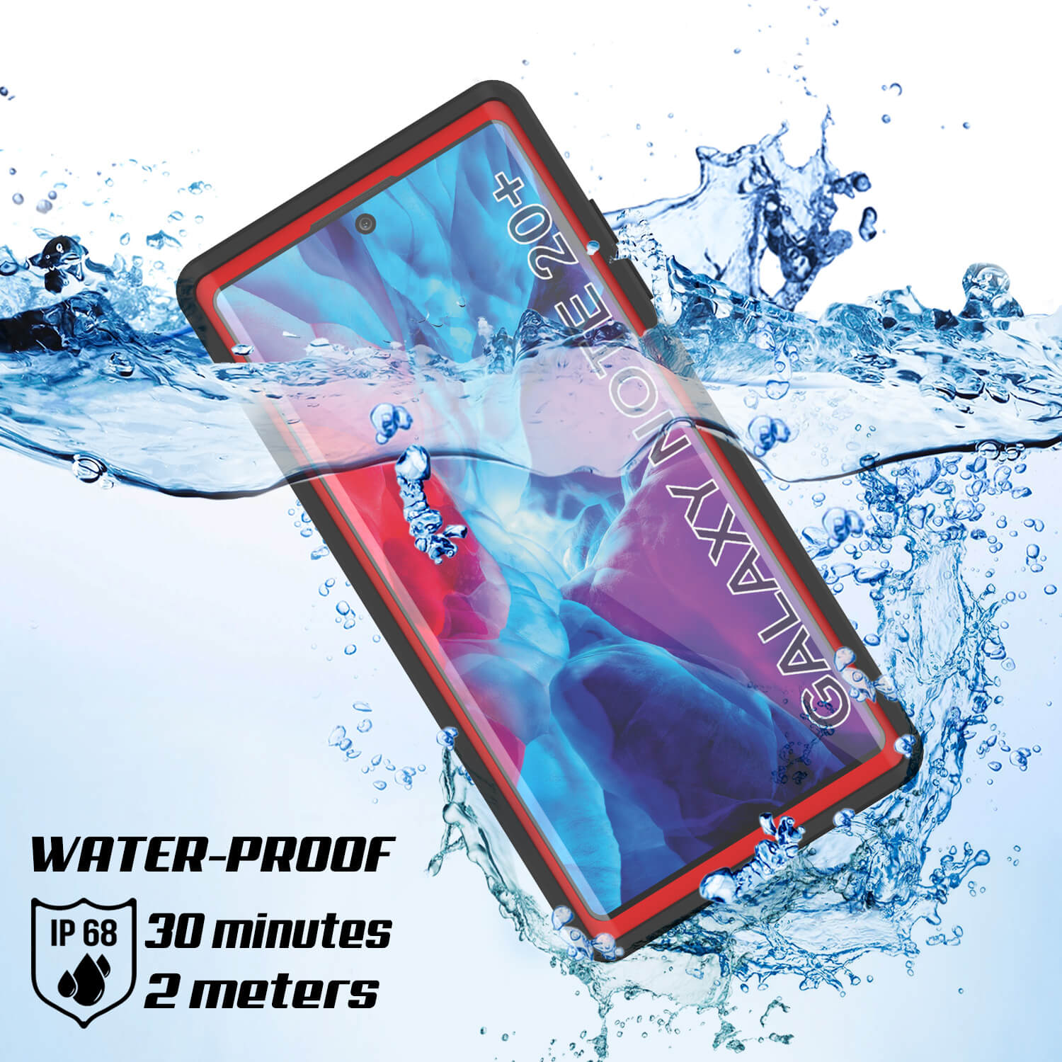 Galaxy Note 20 Ultra Waterproof Case, Punkcase Studstar Red Series Thin Armor Cover