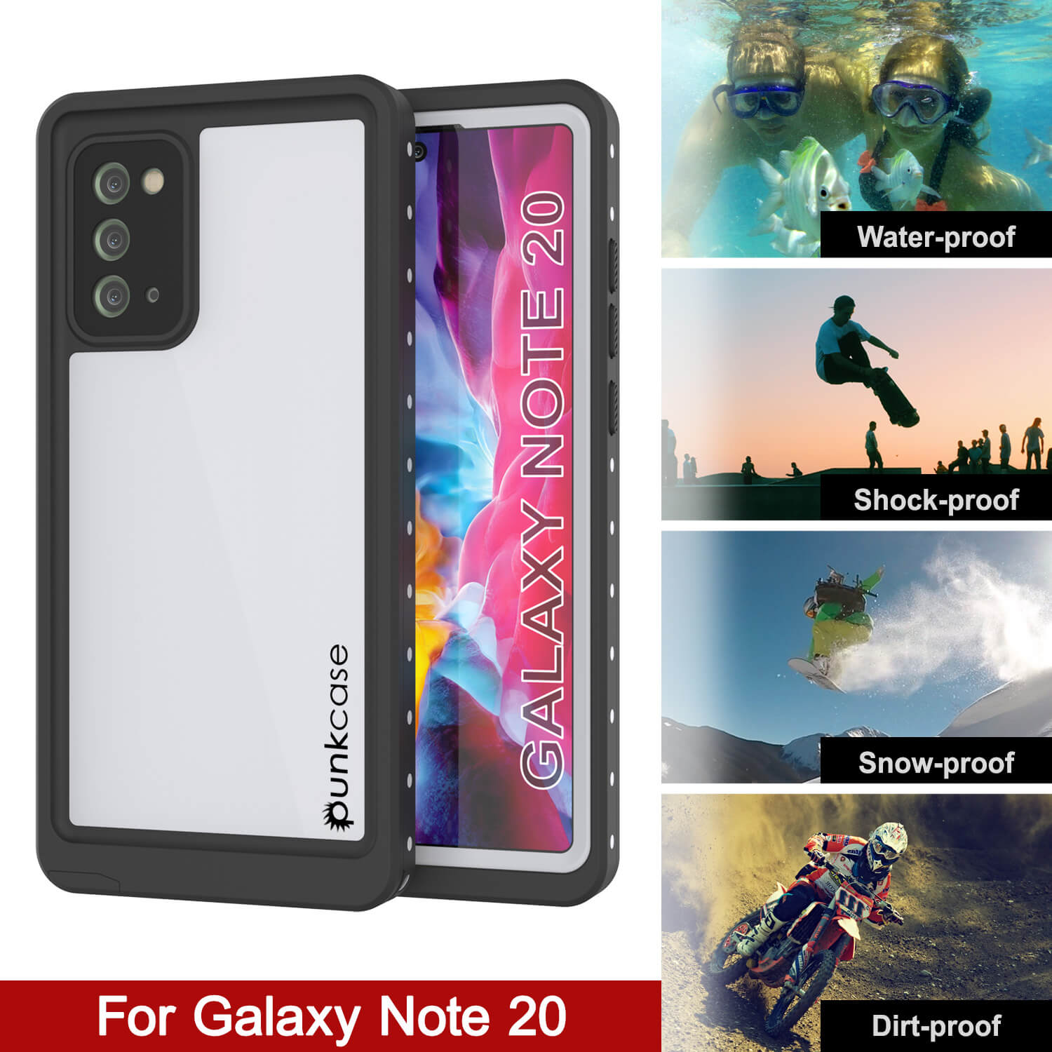 Galaxy Note 20 Waterproof Case, Punkcase Studstar White Thin Armor Cover