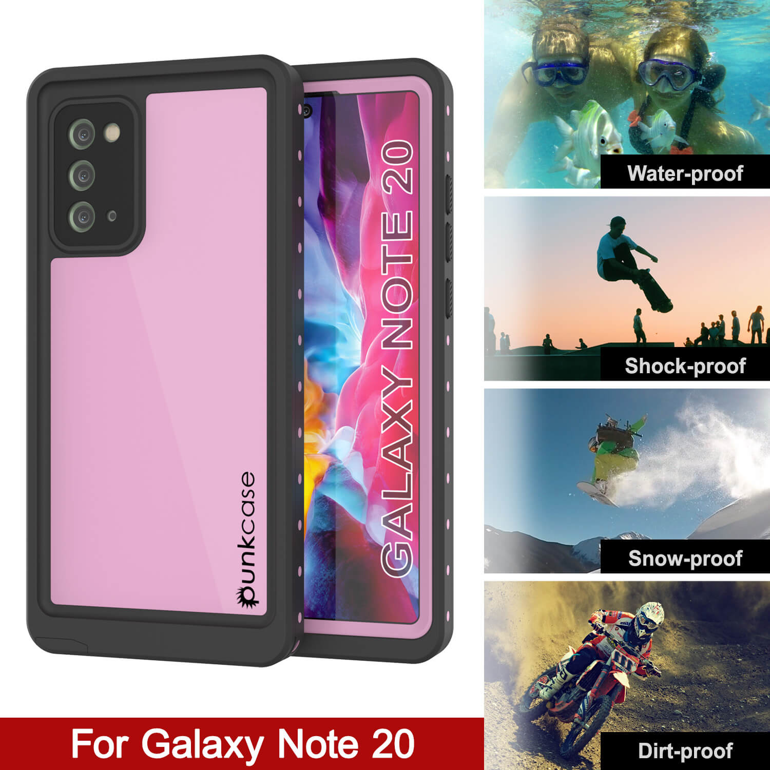 Galaxy Note 20 Waterproof Case, Punkcase Studstar Pink Thin Armor Cover