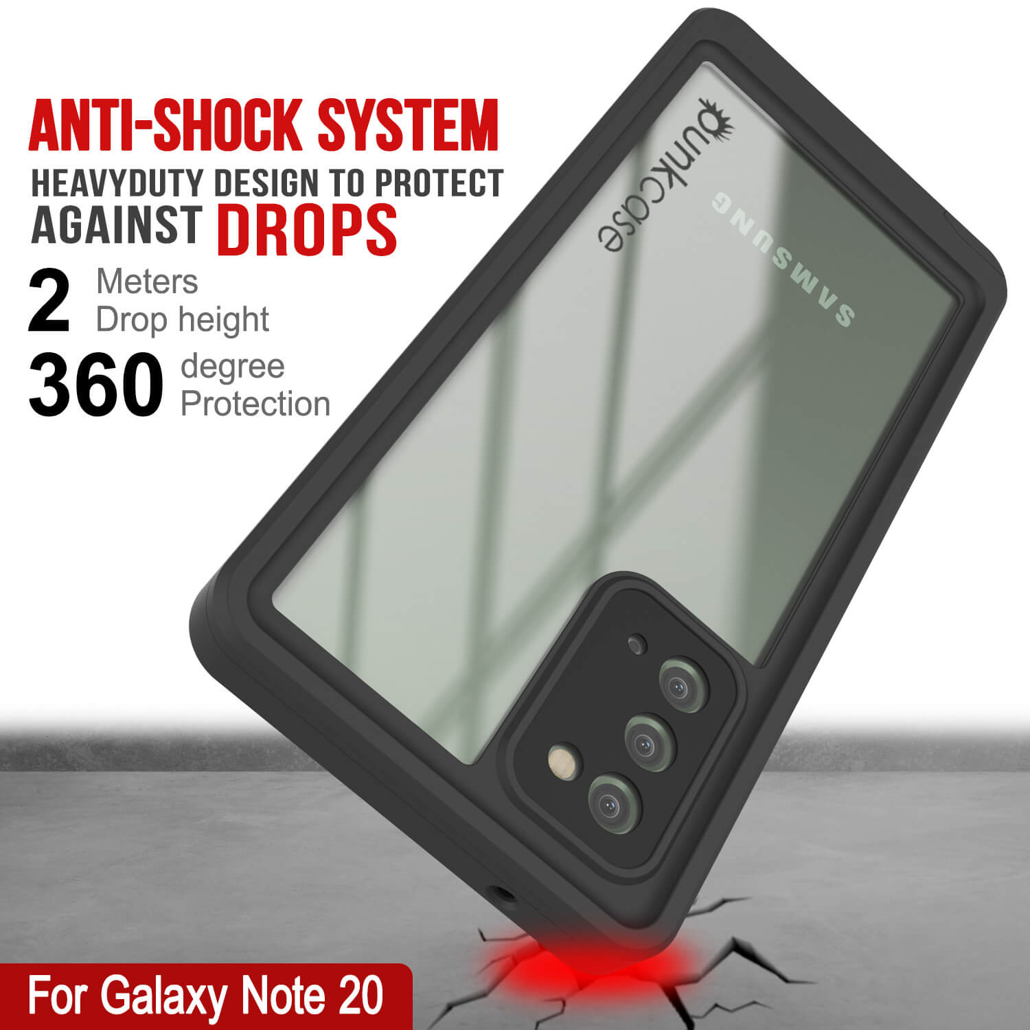 Galaxy Note 20 Waterproof Case, Punkcase Studstar Clear Thin Armor Cover