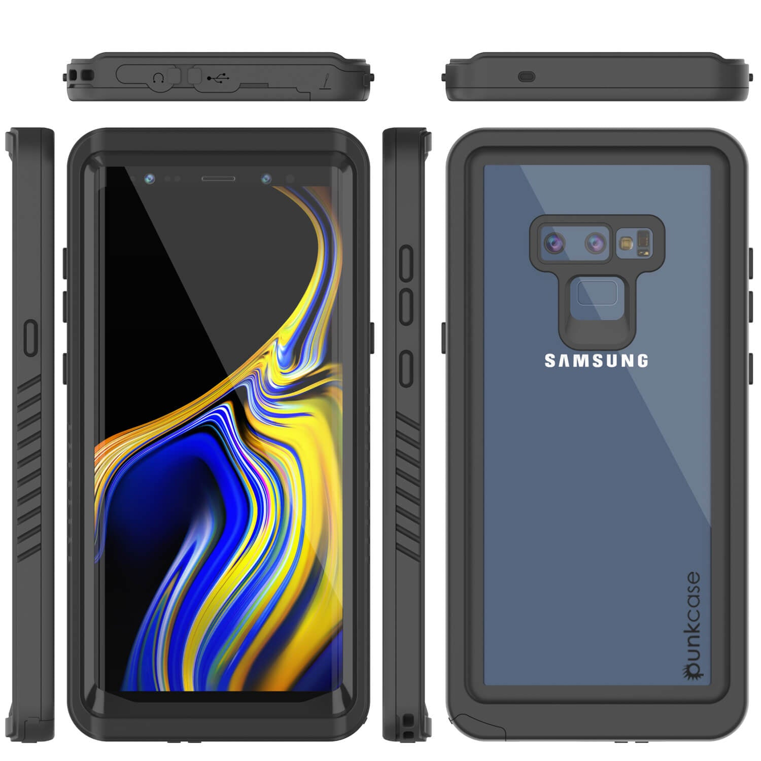Galaxy Note 9 Case, Punkcase [Extreme Series] Armor Cover W/ Built In Screen Protector [Black]