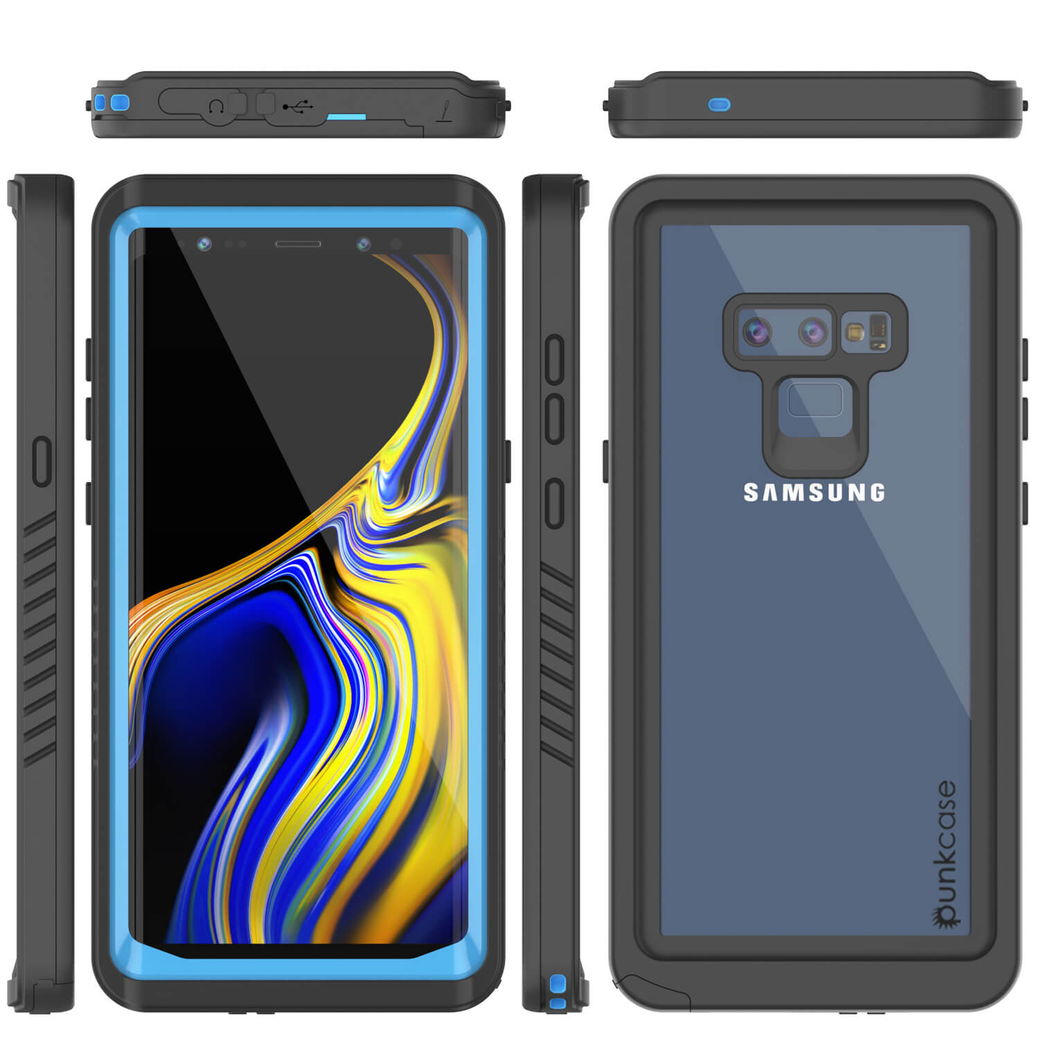 Galaxy Note 9 Case, Punkcase [Extreme Series] Armor Cover W/ Built In Screen Protector [Light Blue]