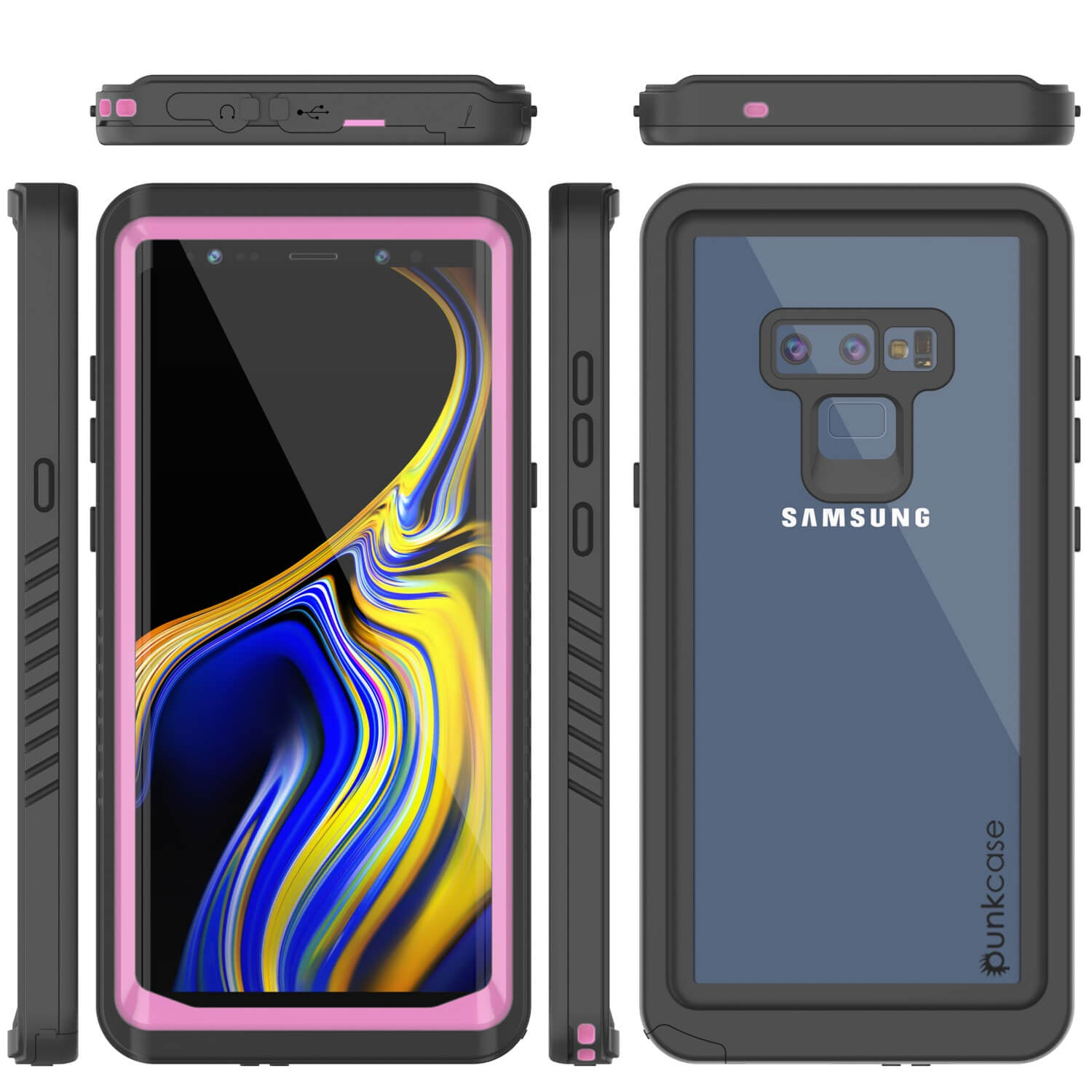 Galaxy Note 9 Case, Punkcase [Extreme Series] Armor Cover W/ Built In Screen Protector [Pink]
