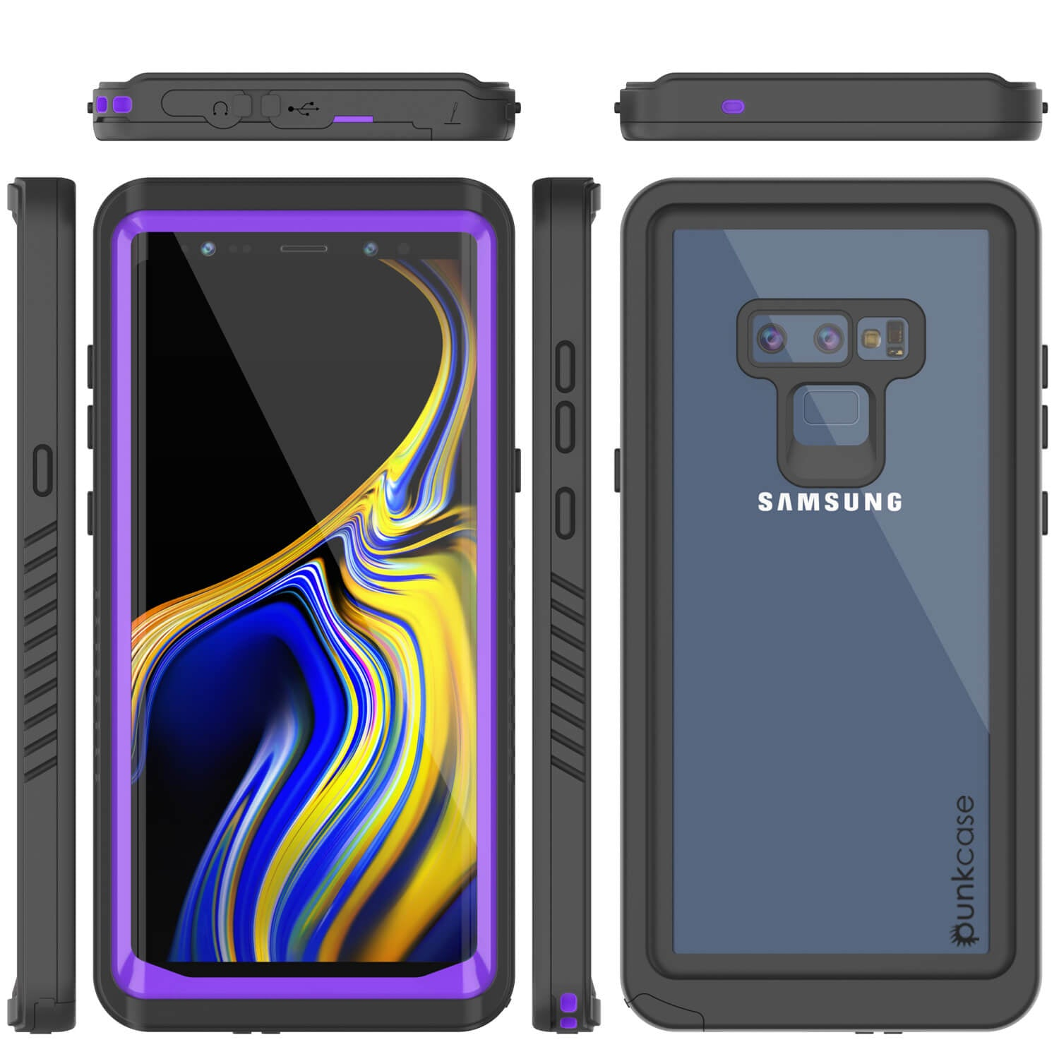 Galaxy Note 9 Case, Punkcase [Extreme Series] Armor Cover W/ Built In Screen Protector [Purple]
