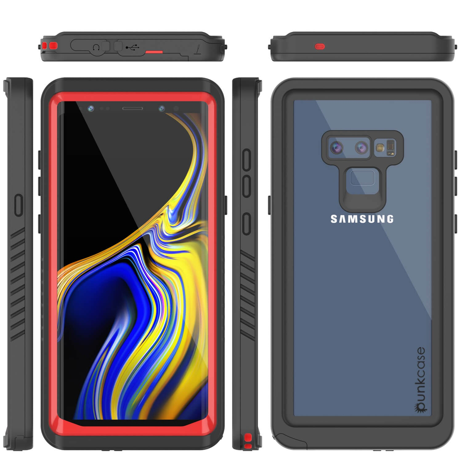 Galaxy Note 9 Case, Punkcase [Extreme Series] Armor Cover W/ Built In Screen Protector [Red]