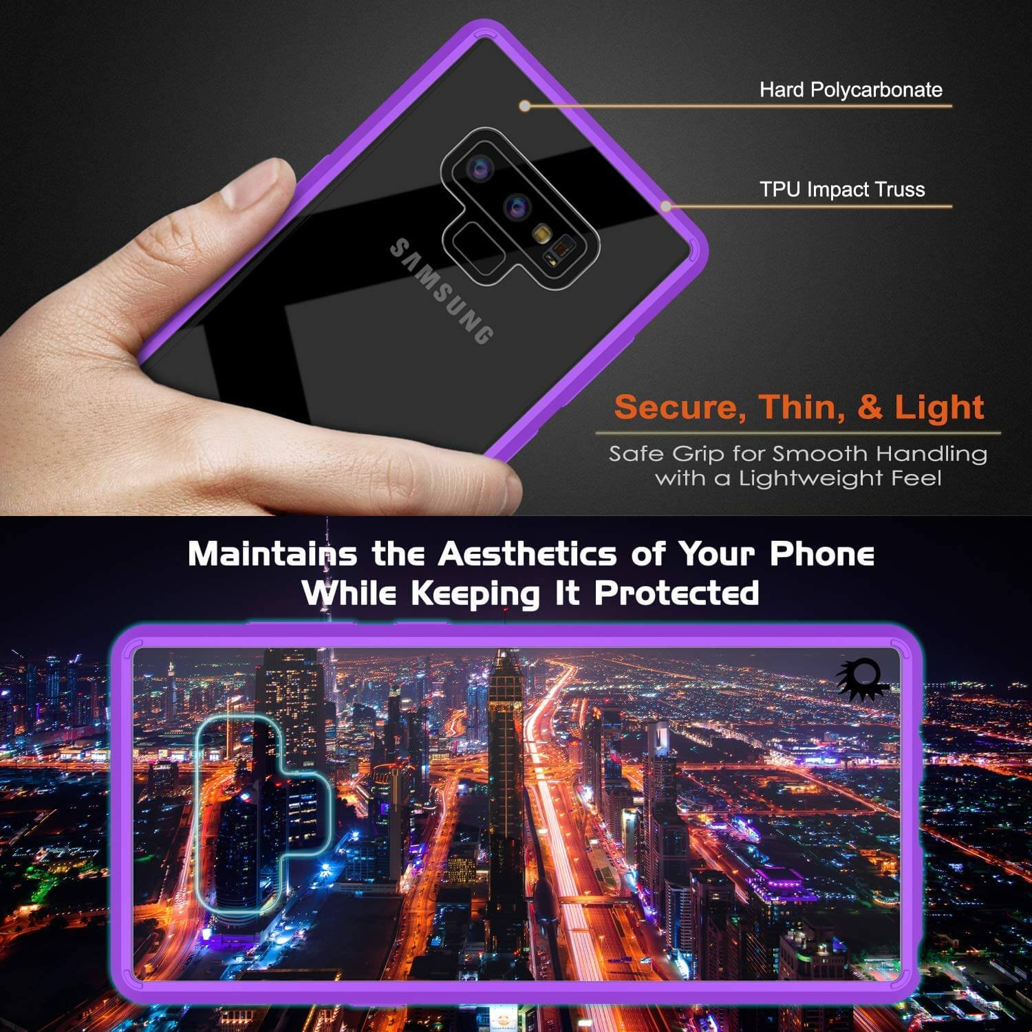 Galaxy Note 9 Punkcase Lucid-2.0 Series Slim Fit Armor Purple Case Cover