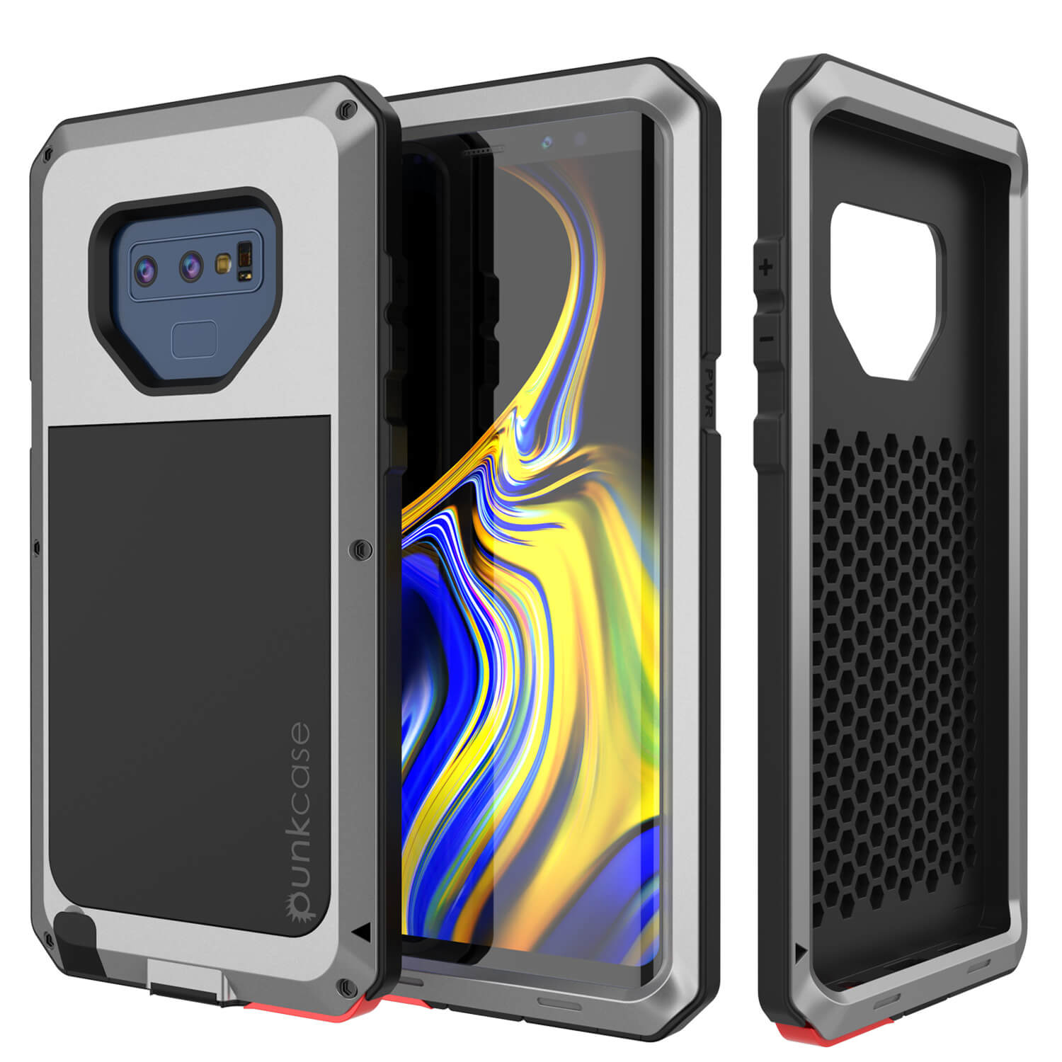 Galaxy Note 9  Case, PUNKcase Metallic Silver Shockproof  Slim Metal Armor Case [Silver]