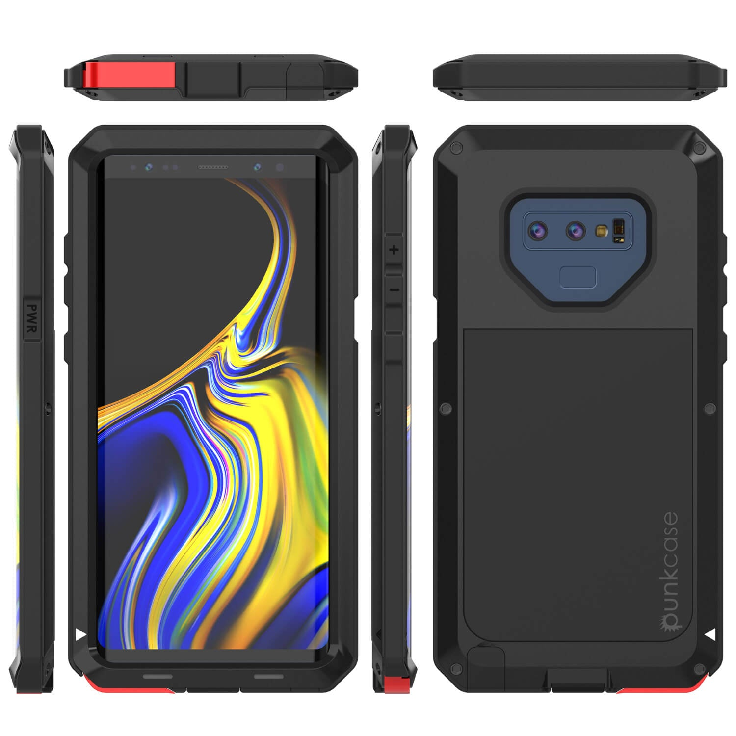 Galaxy Note 9 Case, PUNKcase Metallic Black Shockproof  Slim Metal Armor Case [Black]