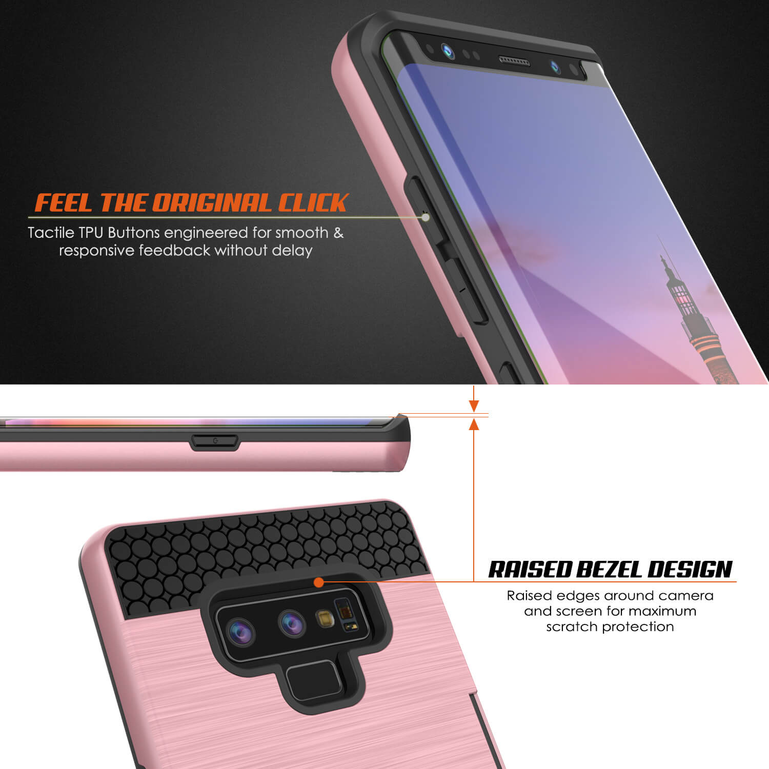 Galaxy Note 9 Case, PUNKcase [SLOT Series] Slim Fit  Samsung Note 9 [Rose Gold]