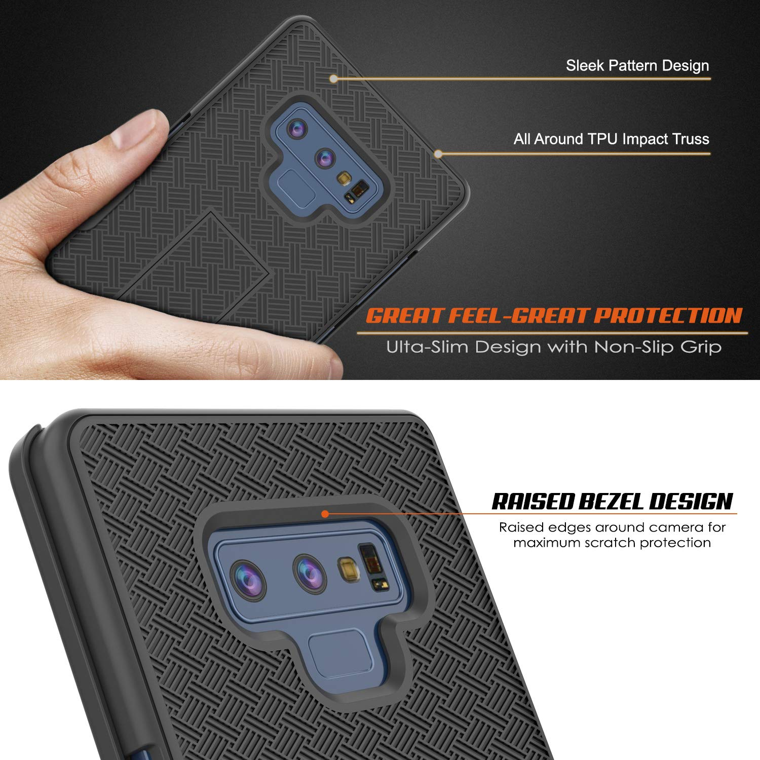 PunkCase Galaxy Note 9 Case with Screen Protector, Holster Belt Clip & Built-in Kickstand [Black]