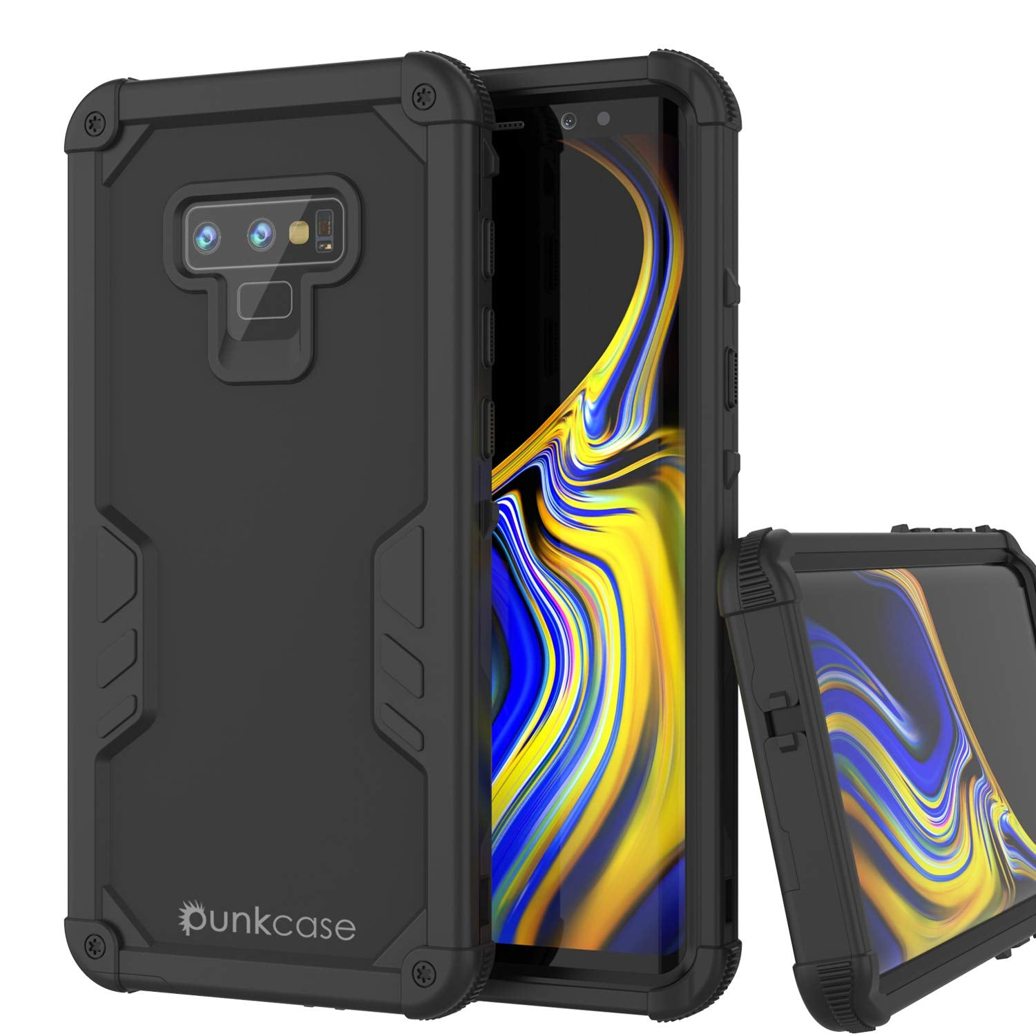Punkcase Galaxy Note 9 Waterproof Case [Navy Seal Extreme Series] Armor Cover W/ Built In Screen Protector [Black]