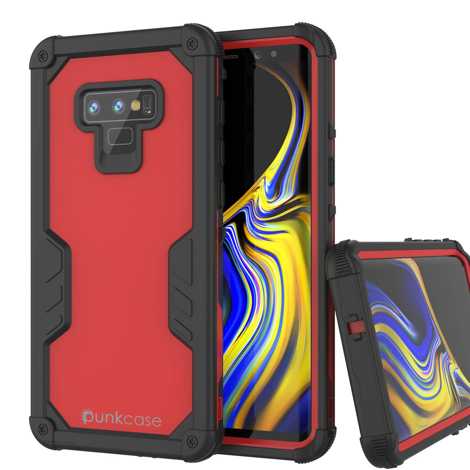 Punkcase Galaxy Note 9 Waterproof Case [Navy Seal Extreme Series] Armor Cover W/ Built In Screen Protector [Red]