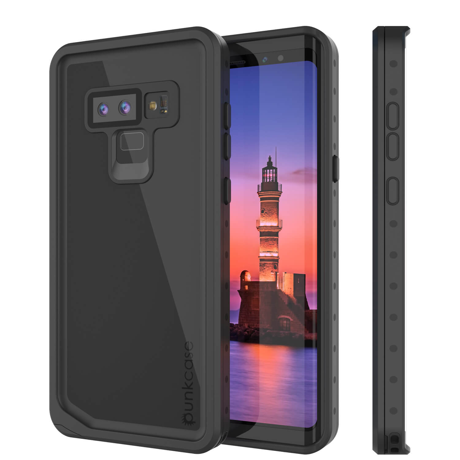 Galaxy Note 9 Waterproof Case, Punkcase Studstar Black Thin Armor Cover