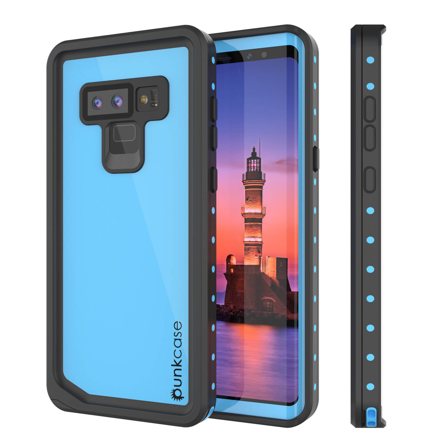 Galaxy Note 9 Waterproof Case, Punkcase Studstar Light Blue Thin Armor Cover