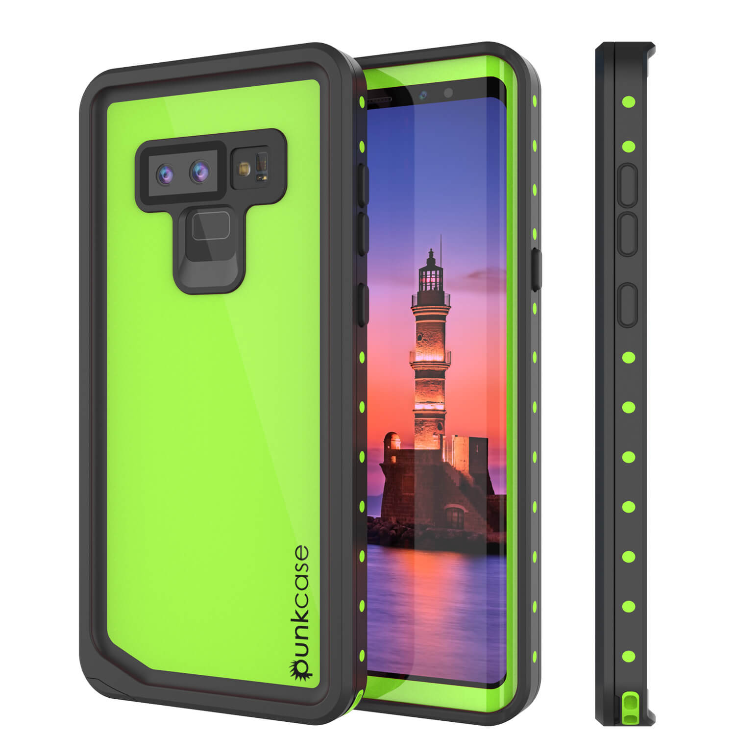 Galaxy Note 9 Waterproof Case, Punkcase Studstar Light Green Thin Armor Cover