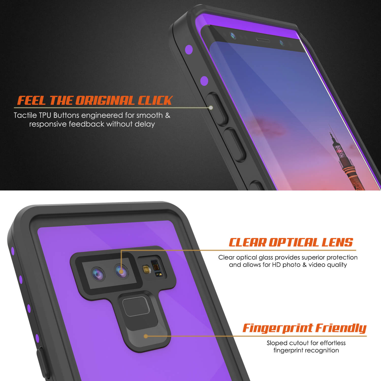 Galaxy Note 9 Waterproof Case, Punkcase Studstar Purple Series Thin Armor Cover