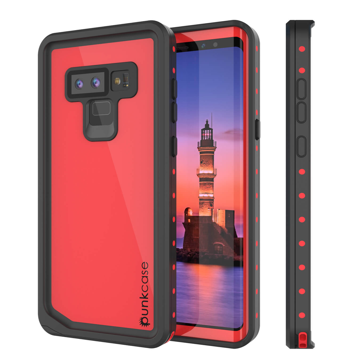 Galaxy Note 9 Waterproof Case, Punkcase Studstar Red Series Thin Armor Cover