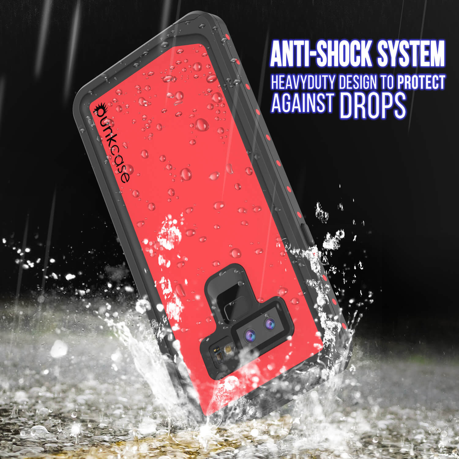 Galaxy Note 9 Waterproof Case PunkCase StudStar Red Thin 6.6ft Underwater Shock/Snow Proof