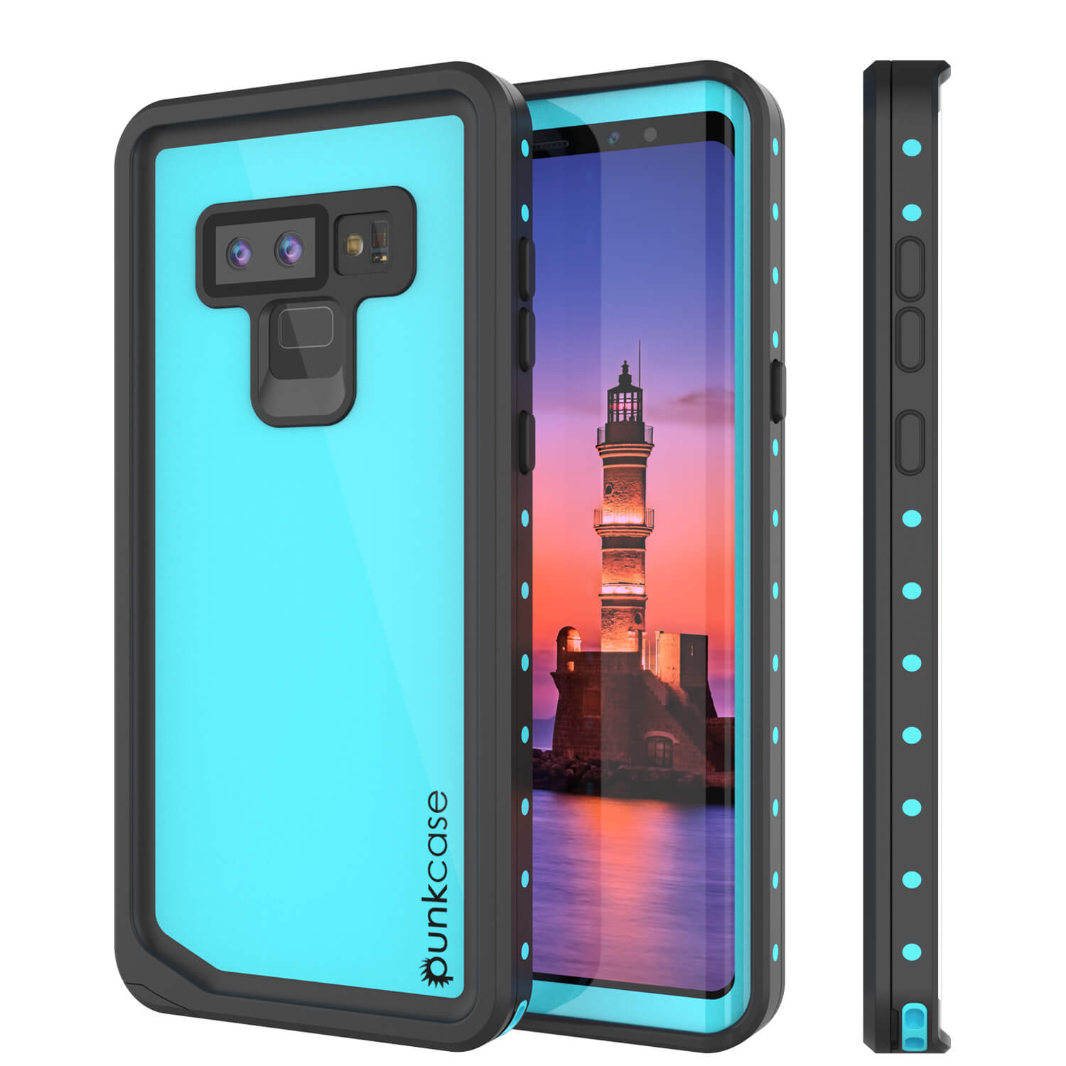 Galaxy Note 9 Waterproof Case, Punkcase Studstar Series Teal Thin Armor Cover