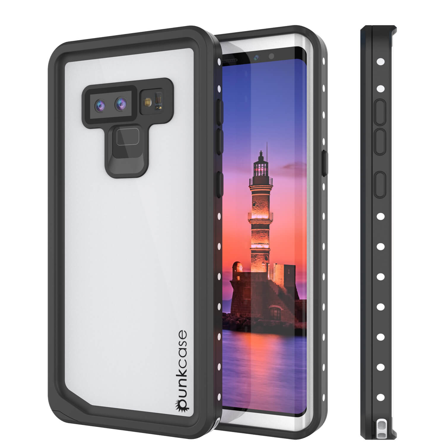 Galaxy Note 9 Waterproof Case, Punkcase Studstar White Thin Armor Cover