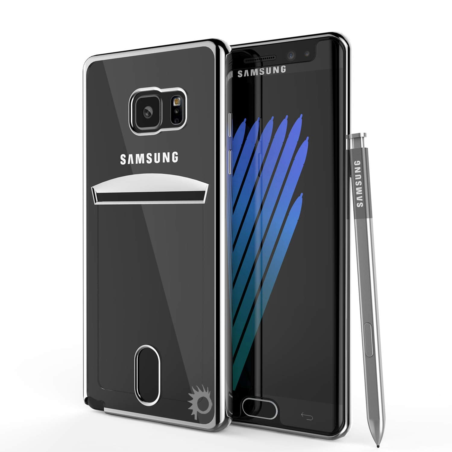 Galaxy Note FE Case, PUNKCASE® LUCID Silver Series | Card Slot | SHIELD Screen Protector | Ultra fit
