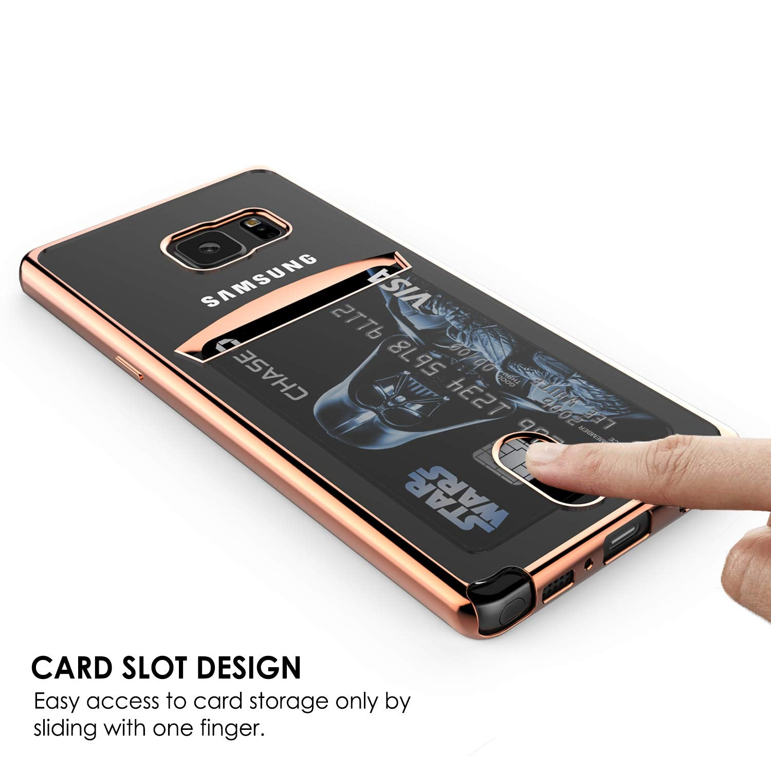 Galaxy Note FE Case, PUNKCASE® LUCID Rose Gold Series | Card Slot | SHIELD Screen Protector | Ultra fit