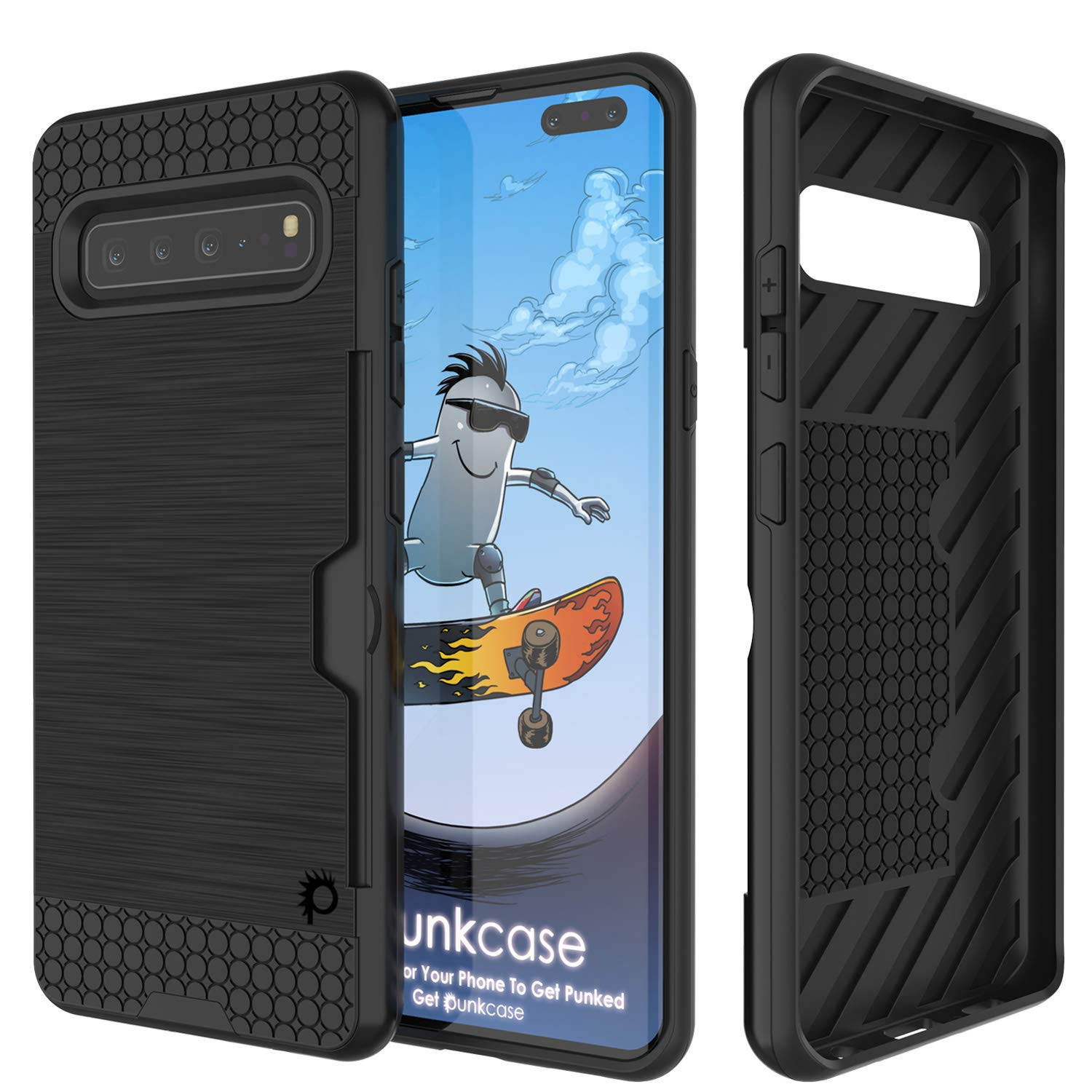 Galaxy S10 5G  Case, PUNKcase [SLOT Series] [Slim Fit] Dual-Layer Armor Cover w/Integrated Anti-Shock System, Credit Card Slot [Black]