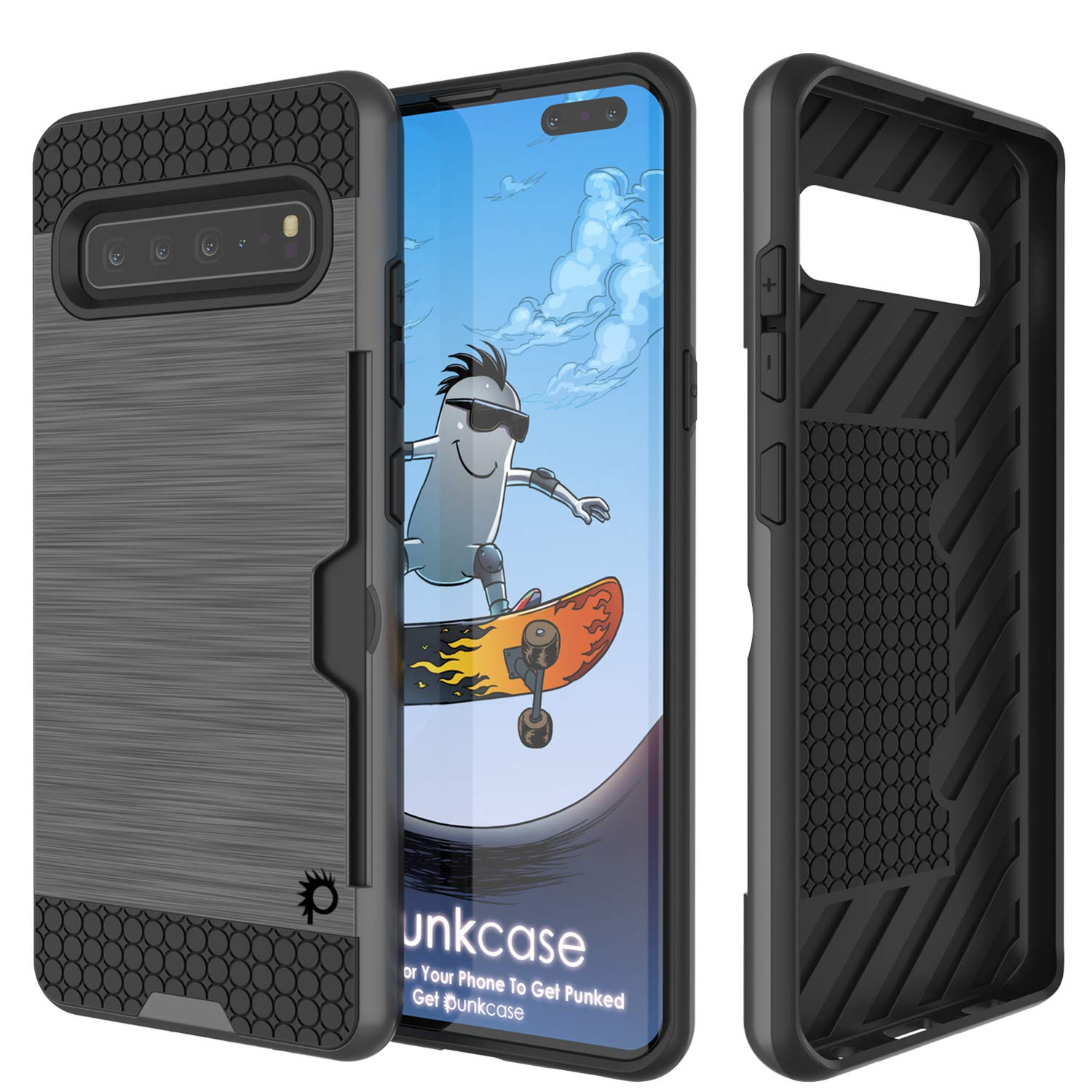 Galaxy S10 5G  Case, PUNKcase [SLOT Series] [Slim Fit] Dual-Layer Armor Cover w/Integrated Anti-Shock System, Credit Card Slot [Grey]