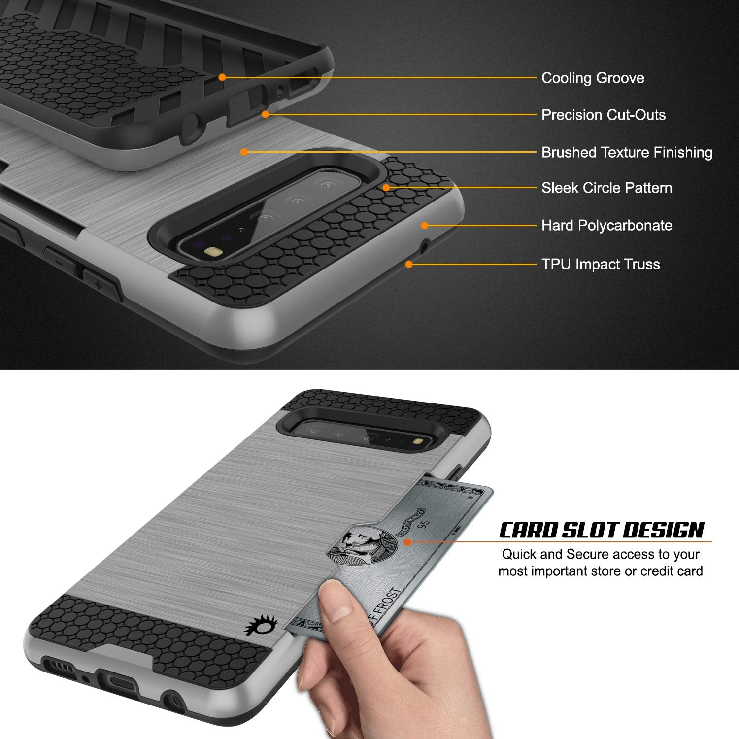 Galaxy S10 5G  Case, PUNKcase [SLOT Series] [Slim Fit] Dual-Layer Armor Cover w/Integrated Anti-Shock System, Credit Card Slot [Silver]