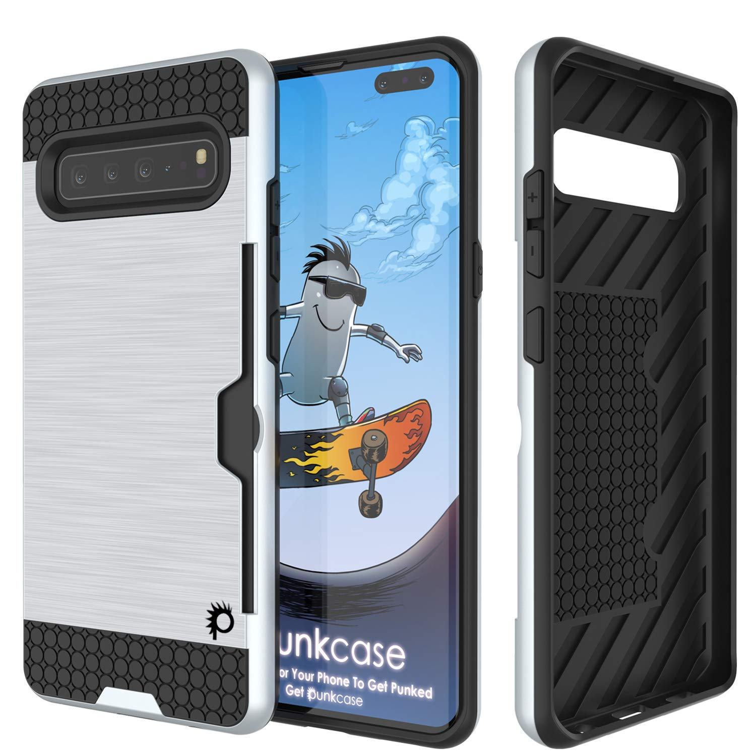Galaxy S10 5G  Case, PUNKcase [SLOT Series] [Slim Fit] Dual-Layer Armor Cover w/Integrated Anti-Shock System, Credit Card Slot [White]