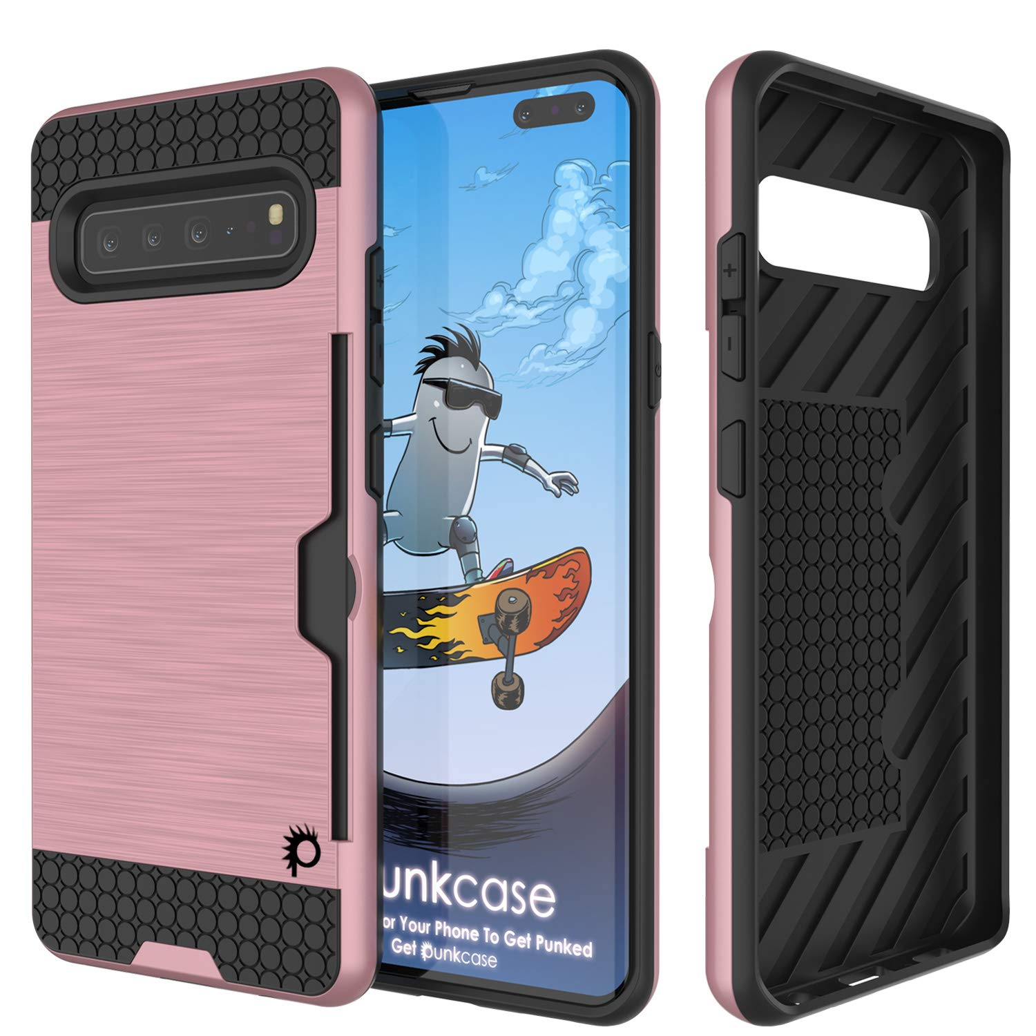 Galaxy S10 5G  Case, PUNKcase [SLOT Series] [Slim Fit] Dual-Layer Armor Cover w/Integrated Anti-Shock System, Credit Card Slot [Rose Gold]
