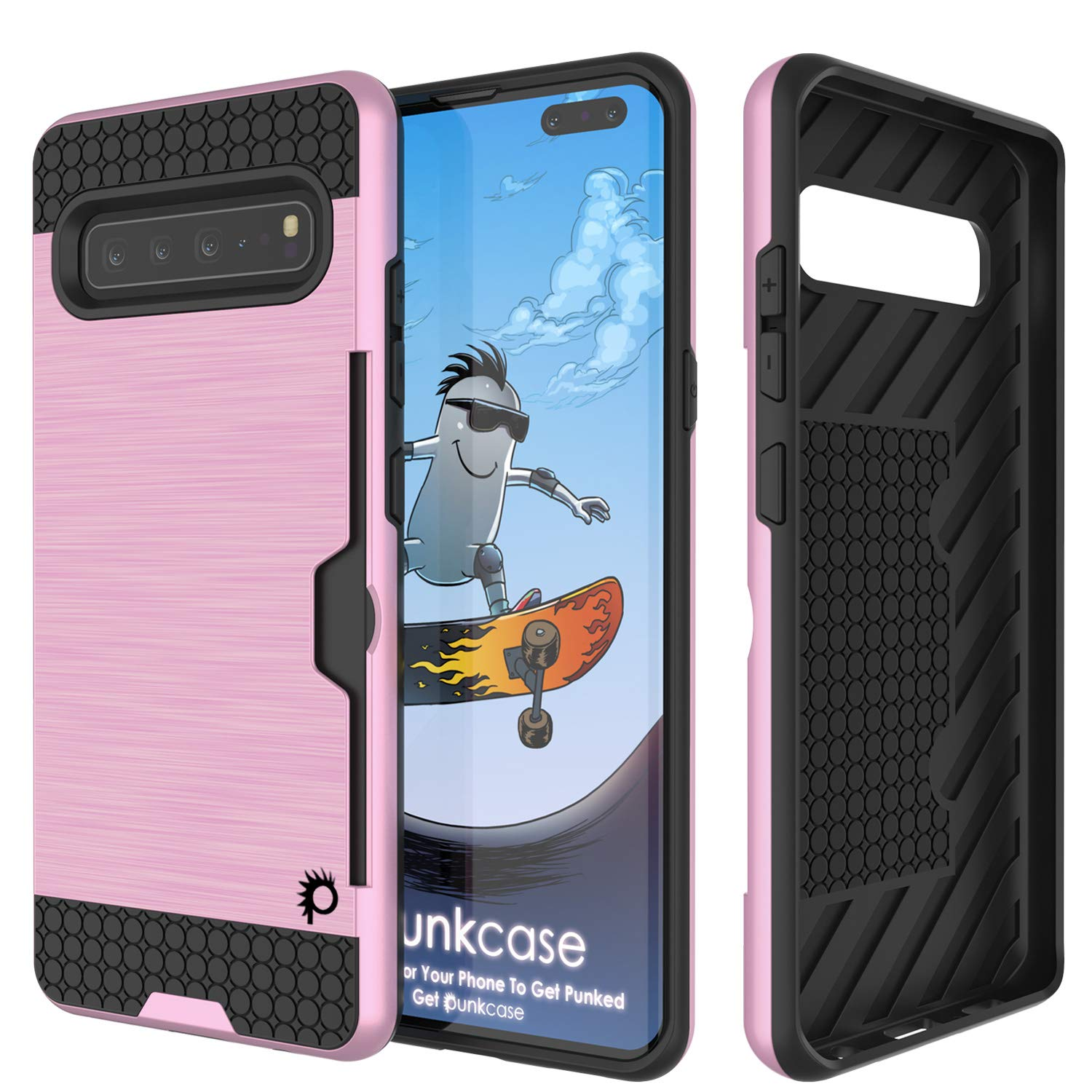 Galaxy S10 5G  Case, PUNKcase [SLOT Series] [Slim Fit] Dual-Layer Armor Cover w/Integrated Anti-Shock System, Credit Card Slot [Pink]