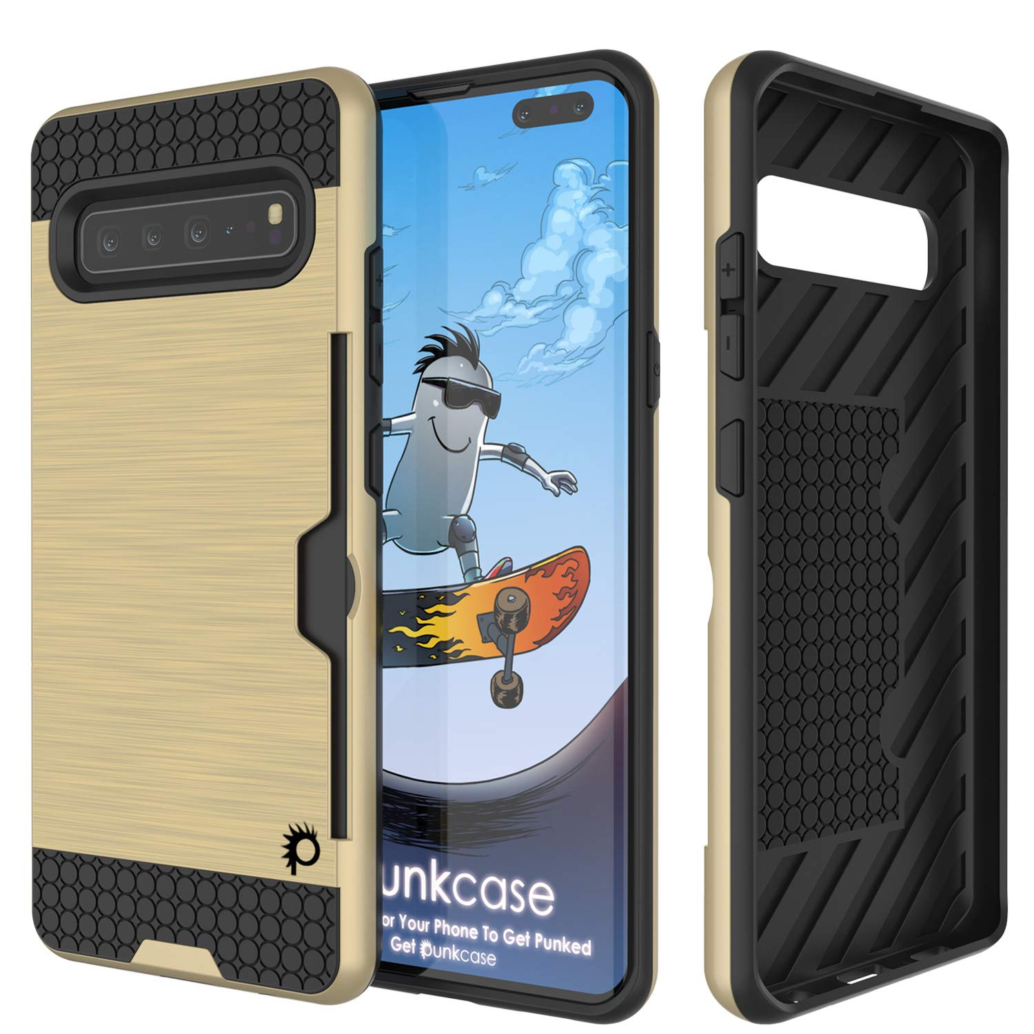 Galaxy S10 5G  Case, PUNKcase [SLOT Series] [Slim Fit] Dual-Layer Armor Cover w/Integrated Anti-Shock System, Credit Card Slot [Gold]