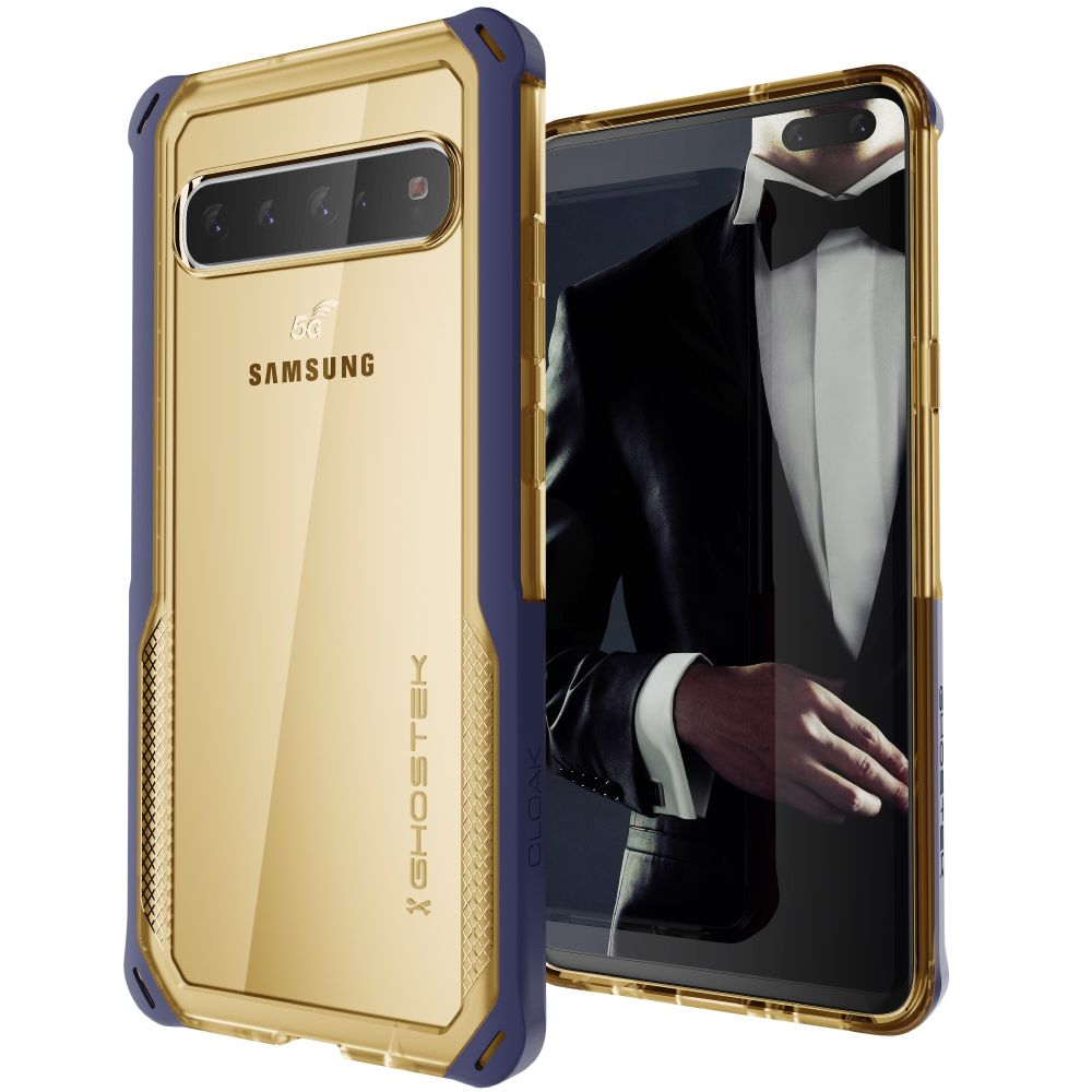 CLOAK 4 for Galaxy S10 5G Shockproof Hybrid Case [Blue-Gold]